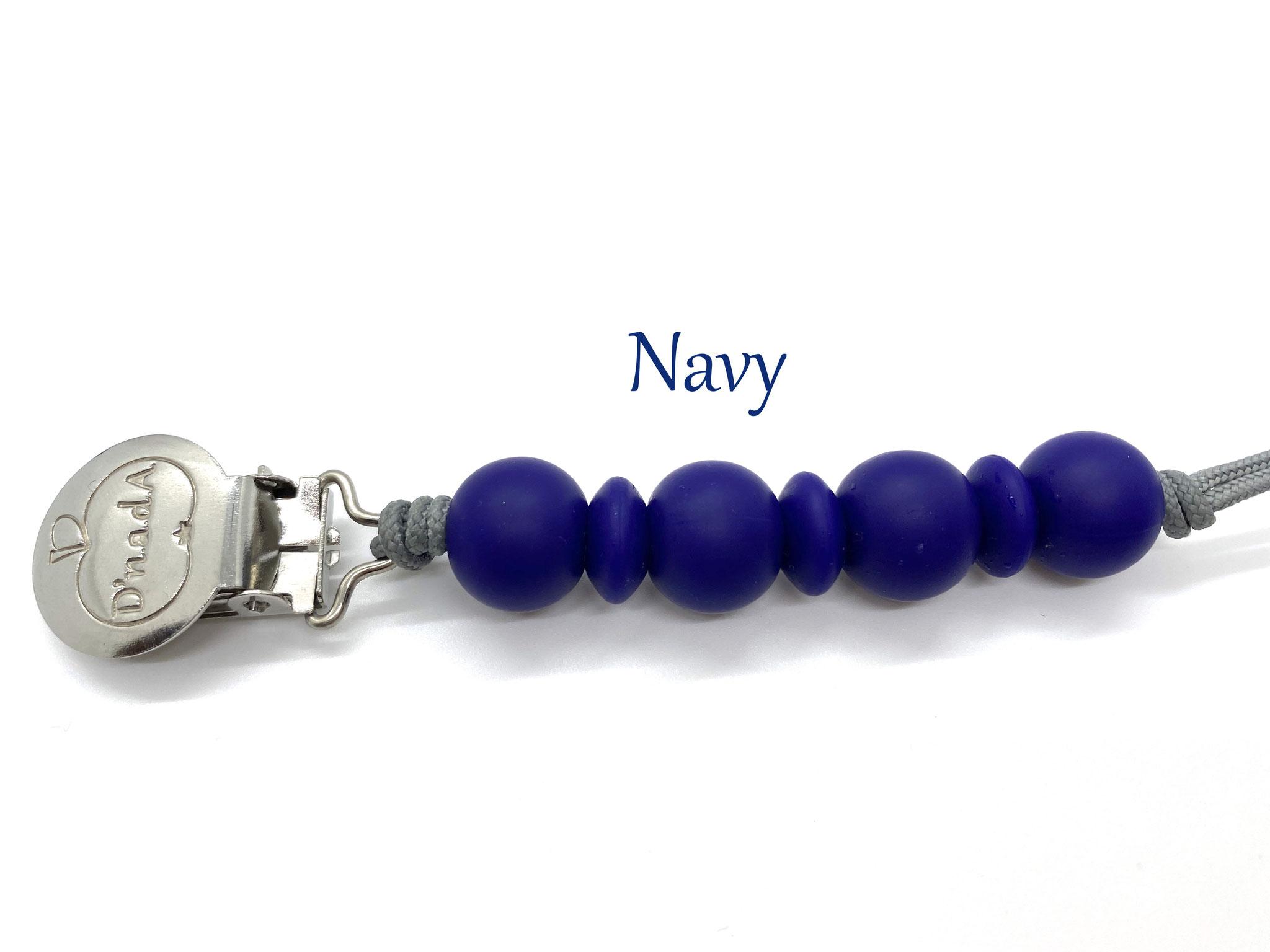 Navy Blue with Silver Cord // Dunkelblau mit Silber Schnur