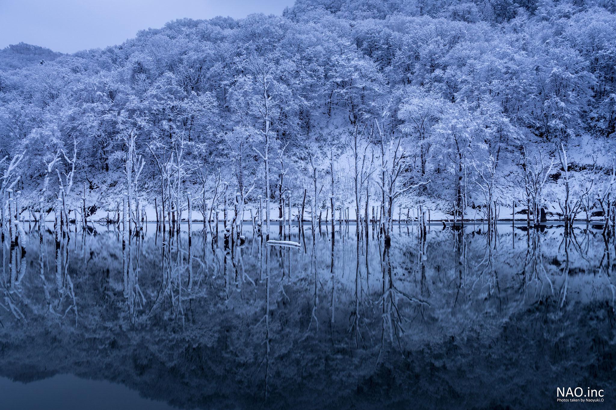 赤井川村落合ダム。初雪が降った朝、山の白を映す鏡のような湖面。