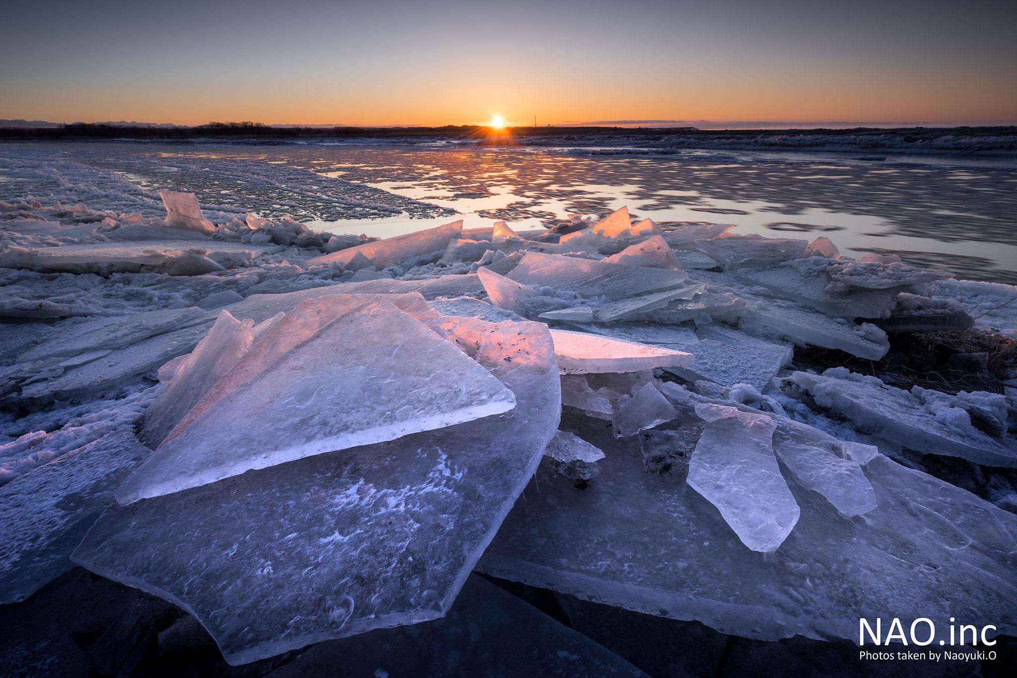 鵡川河口に堆積した氷。朝日に染まり輝く。