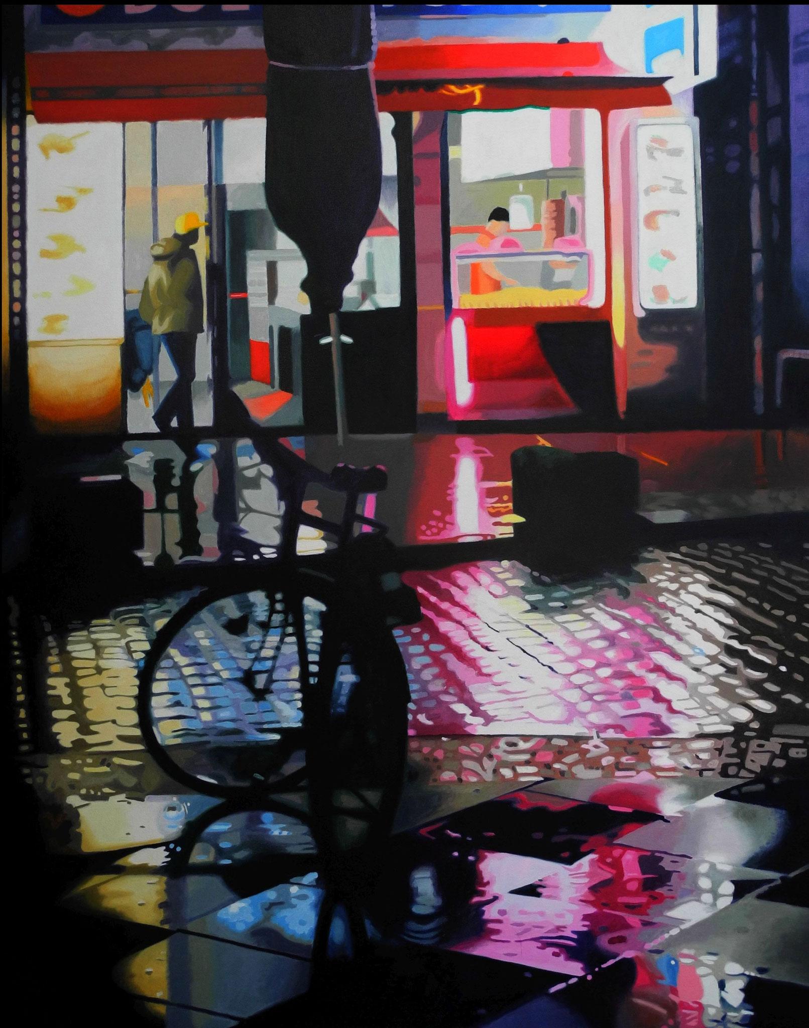 Emmanuel im Imbiss, Oil on Canvas, 100 x 80 cm