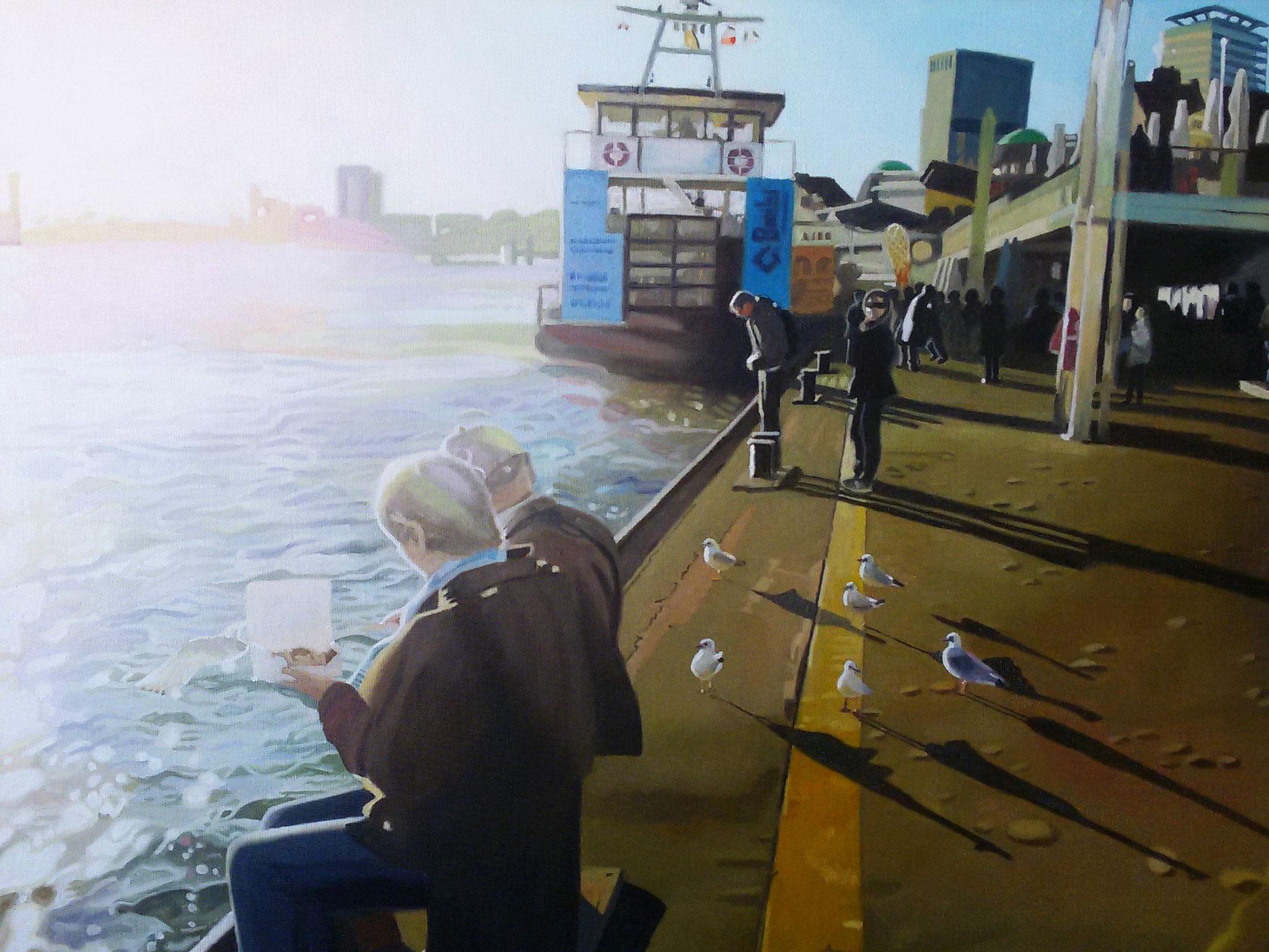Landungsbrücken, Oil on Canvas, 60 x 50 cm