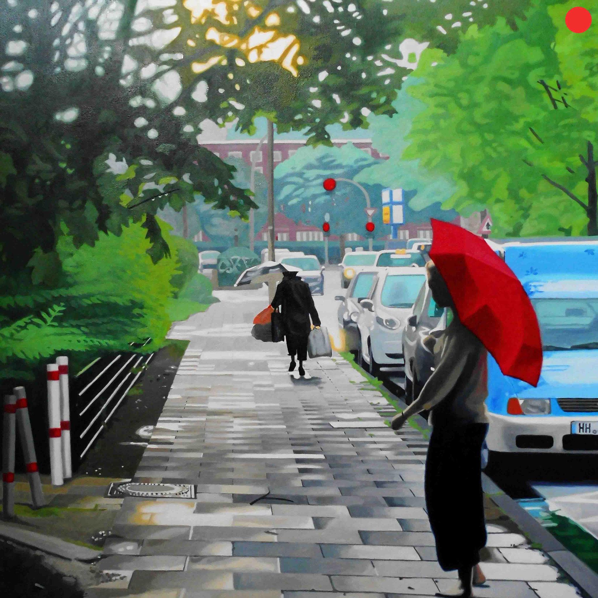 Regenstraße, Oil on Canvas, 100 x 100 cm