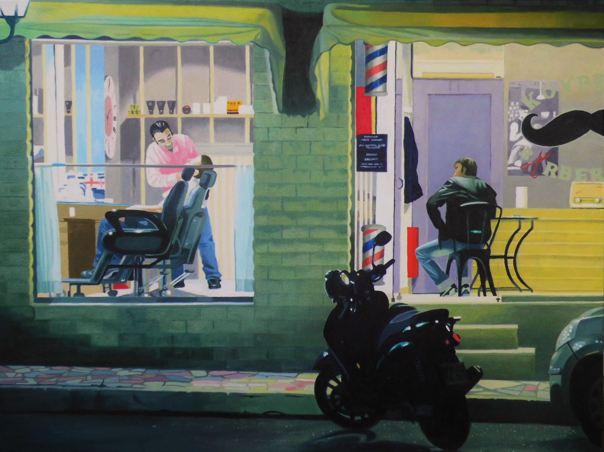 Barbershop,Oil on Canvas, 90 x 70 cm