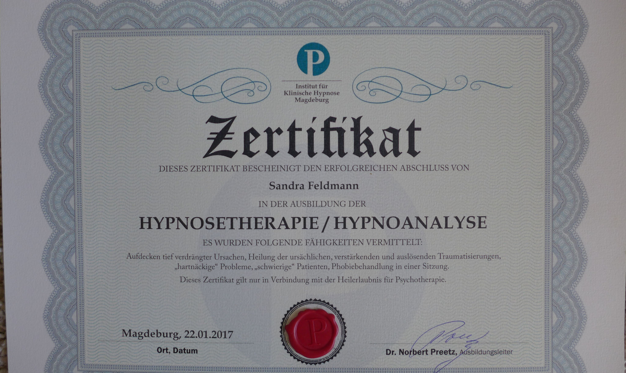 Hypnosetherapie / Hypnosanalyse,  Dr. Norbert Preetz