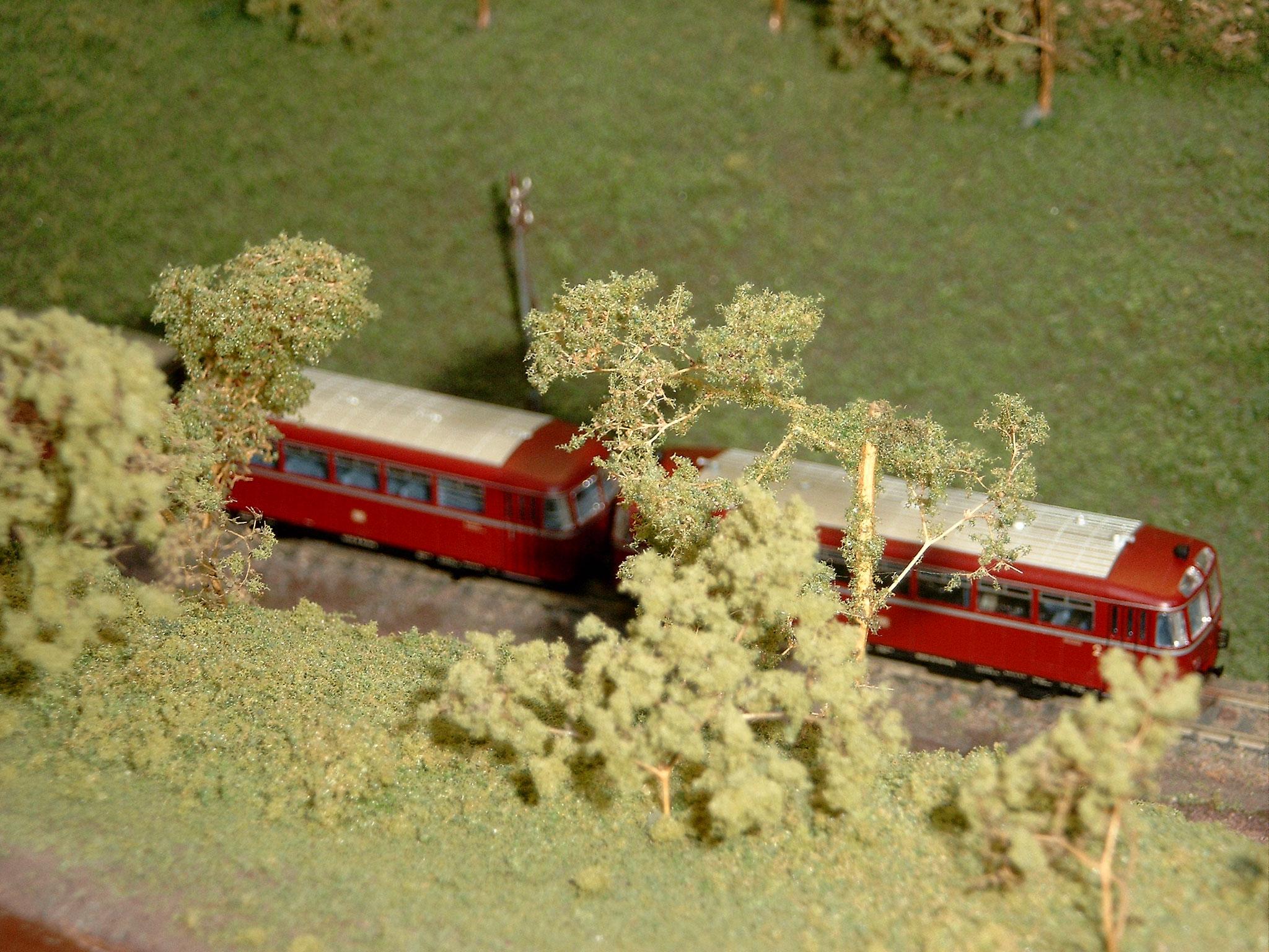 Ein Schienenbus ist auf dieser Strecke im Original nie gefahren.