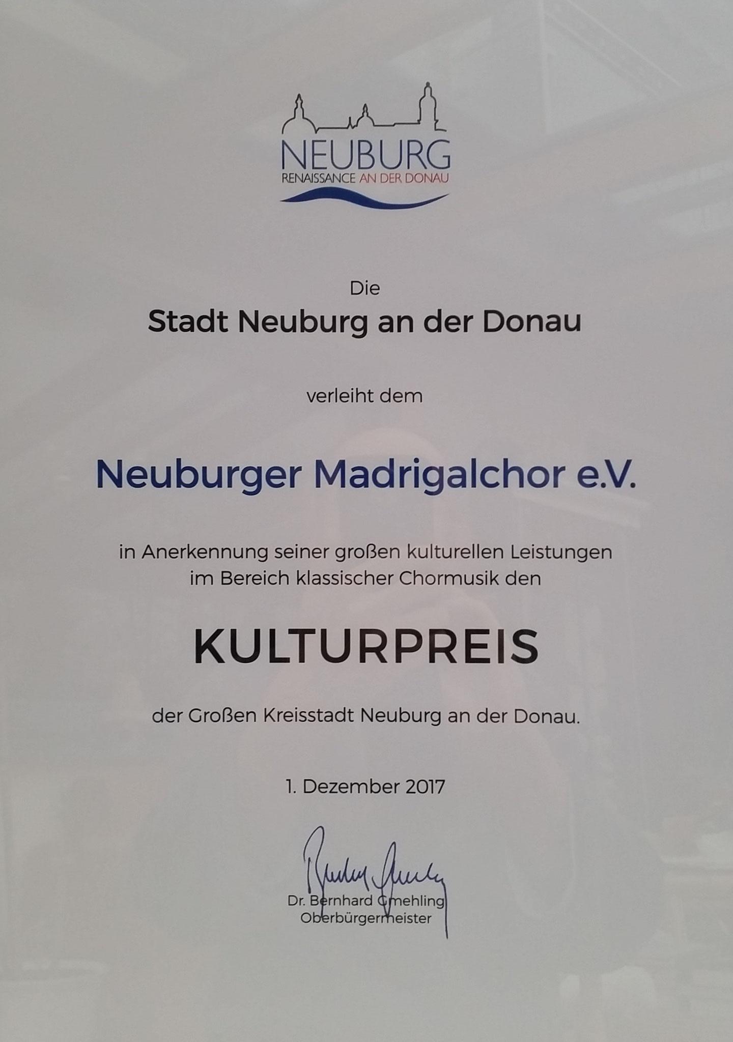 """Urkunde """"Kulturpreis der Stadt Neuburg"""" (2017)"""