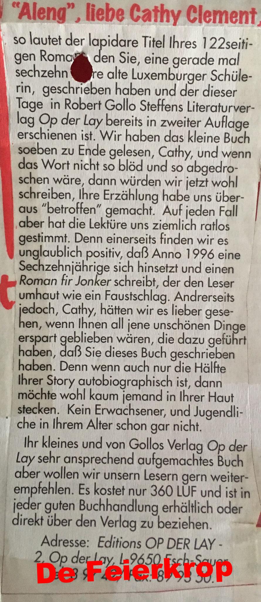 Artikel am Feierkrop iwer Aleng 1996