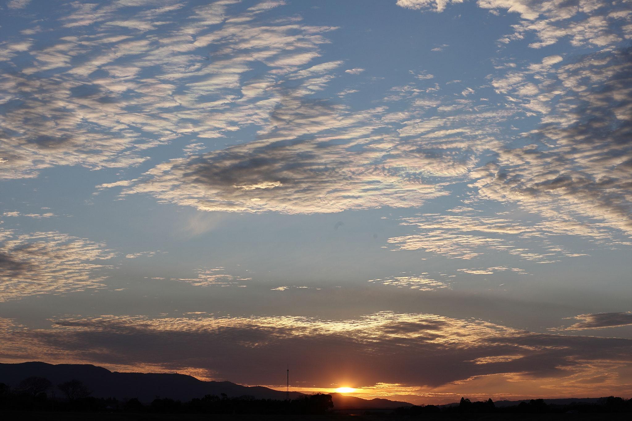 夕空の雲が薄っすら彩雲に(2/8 肝付町)