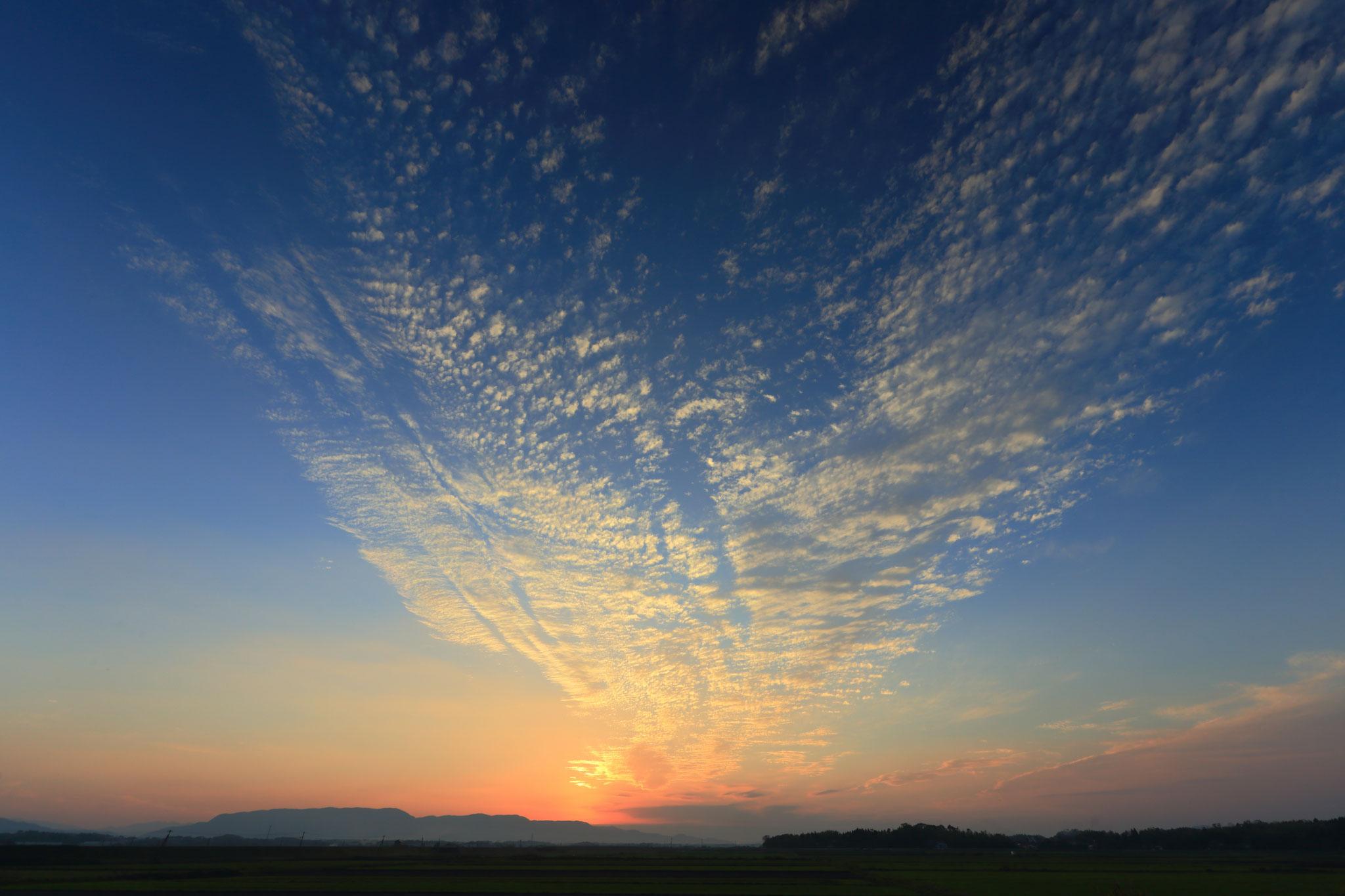 加工センター事務所裏から眺める夕焼け空