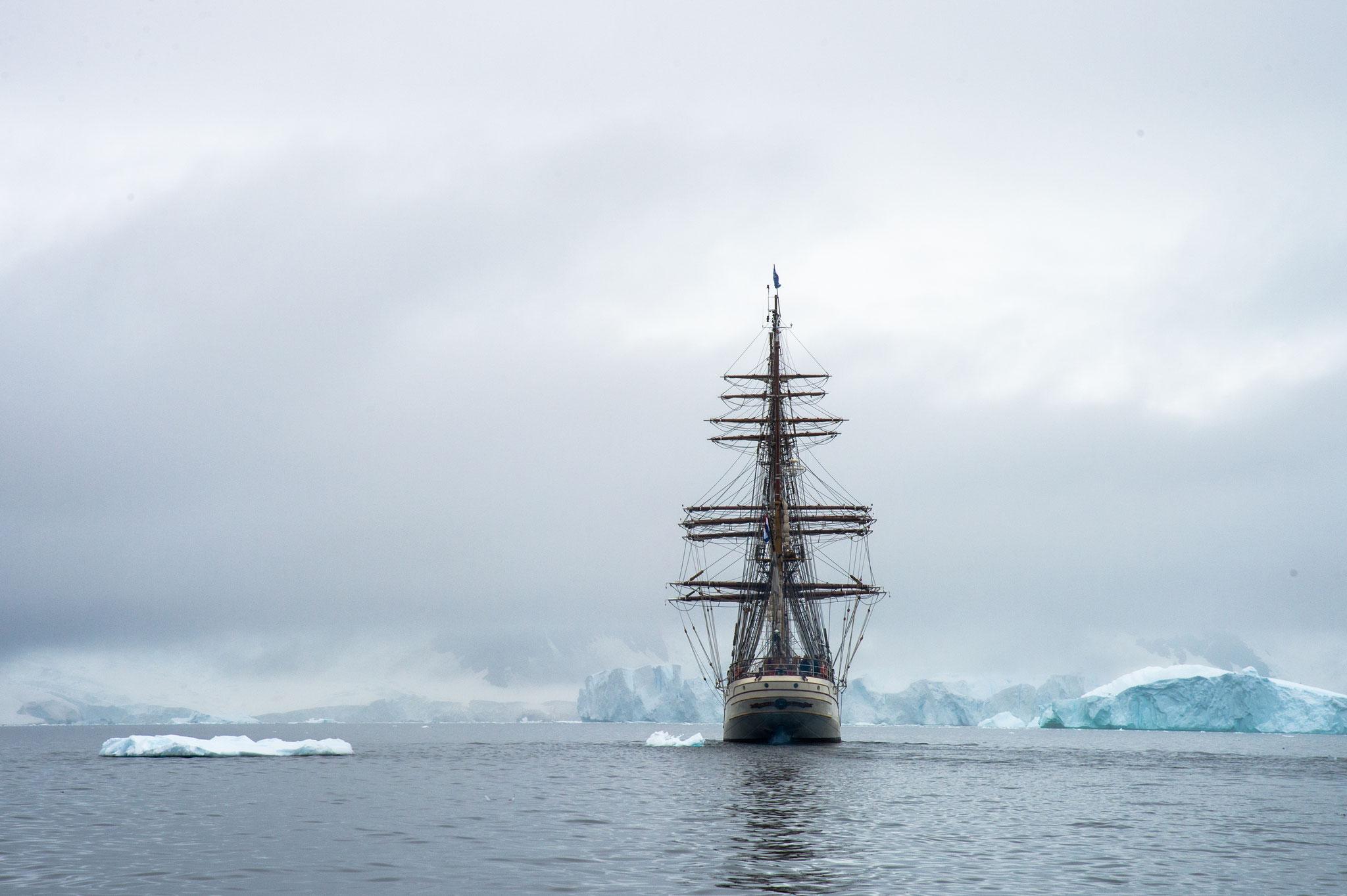 帆船と遭遇