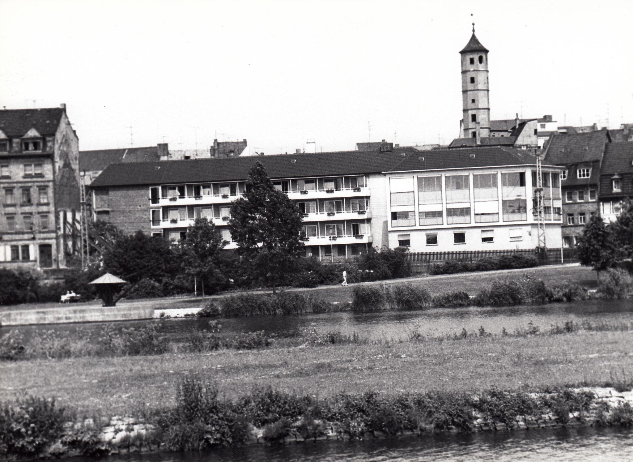 Blick vom einstigen Schlachthof zu Frederike-Schäfer-Heim und Petersgasse