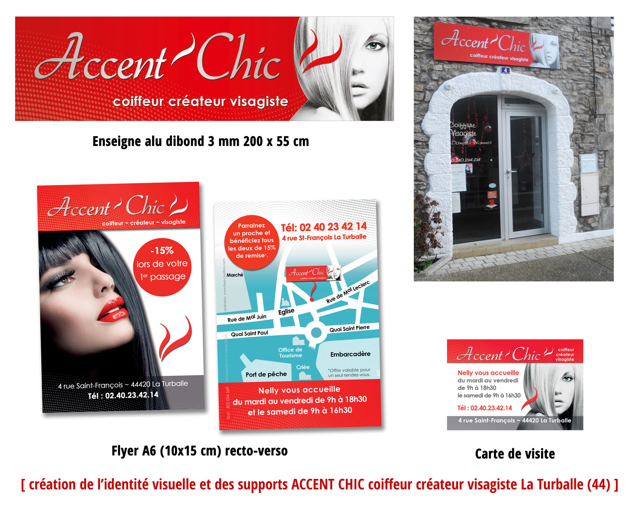 Création identité visuelle, flyers, enseigne, cartes de visite - Accent Chic La Turballe