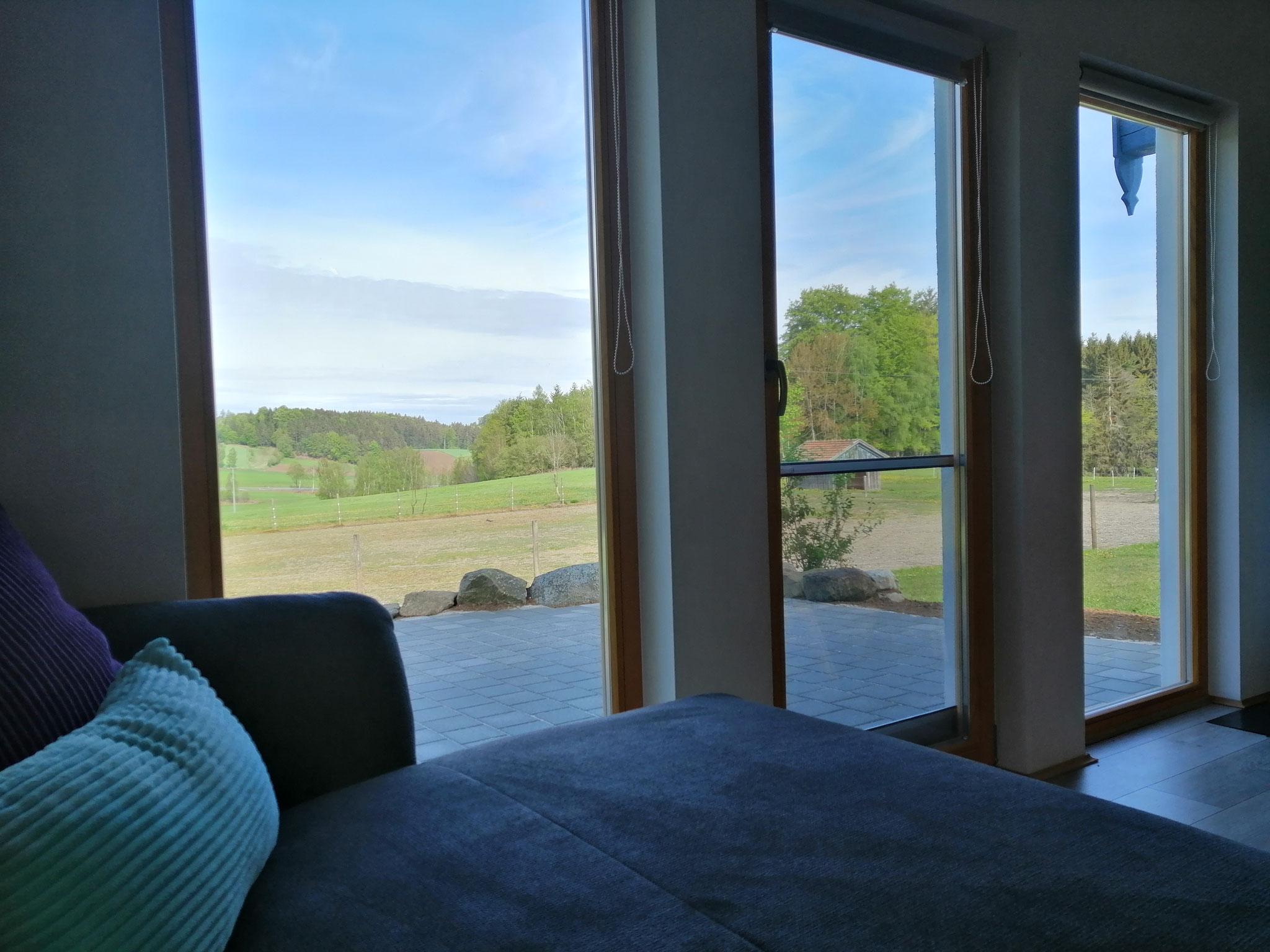 Blick nach draußen auf die eigene Terrasse ©KnallerbsenHof
