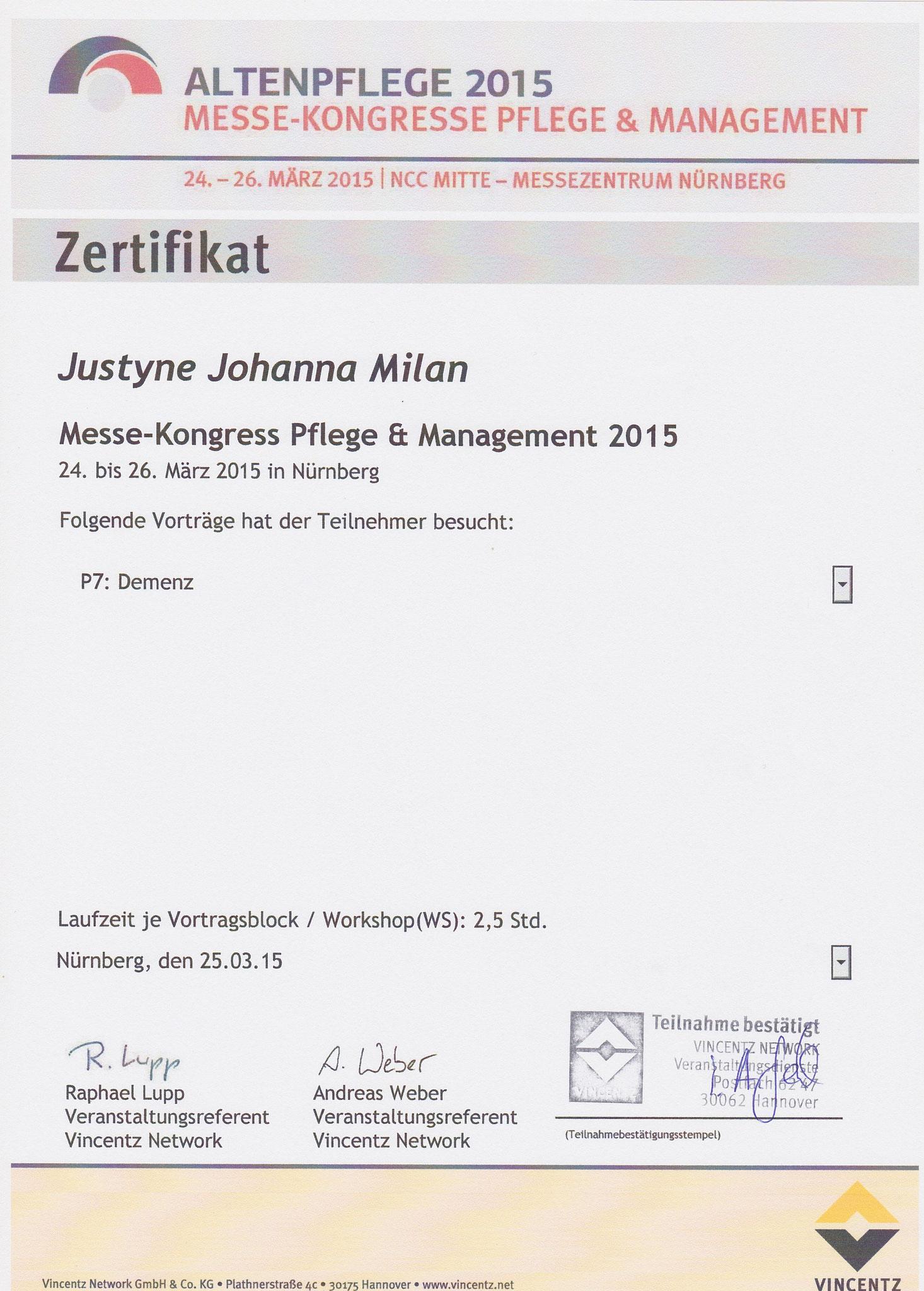 """Workshop Demenz: """"Herausfornderndes Verhalten"""", Dozentin Dr. Elisabeth Höwler; """"Kommunikation und Demenz"""", Dozentin Bettina M. Jasper; """"Schmerz bei Demenz"""", Dozentin Dr. Erica Sirsch"""