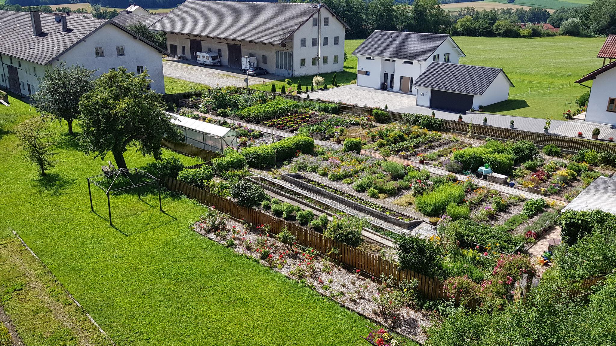 Blick vom Gästehaus in den hauseigenen Gemüsegarten