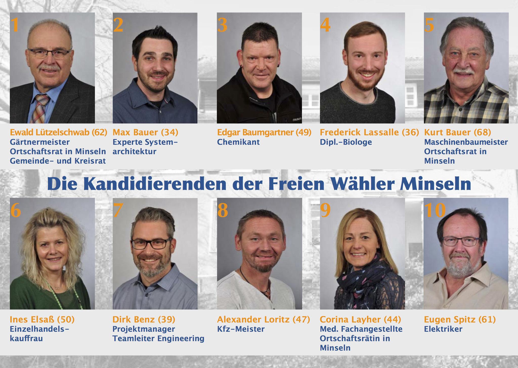 2. Wahlflyer Ortschaftsrat Minseln, DIN A 5, Rückseite mit den Kandidaten