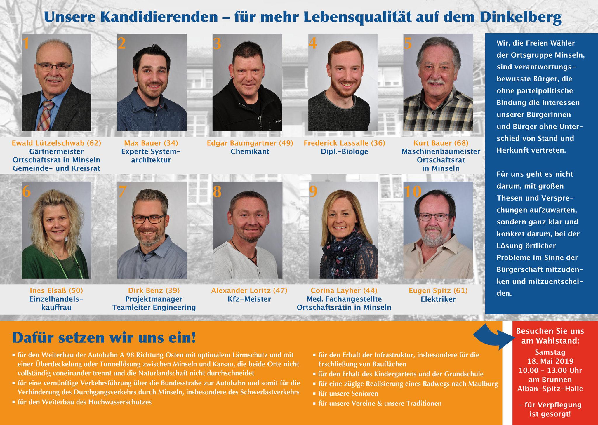 Wahlflyer Ortschaftsrat Minseln, DIN A 4 gefalzt auf DIN A 5, Innenseite mit den Kandidaten