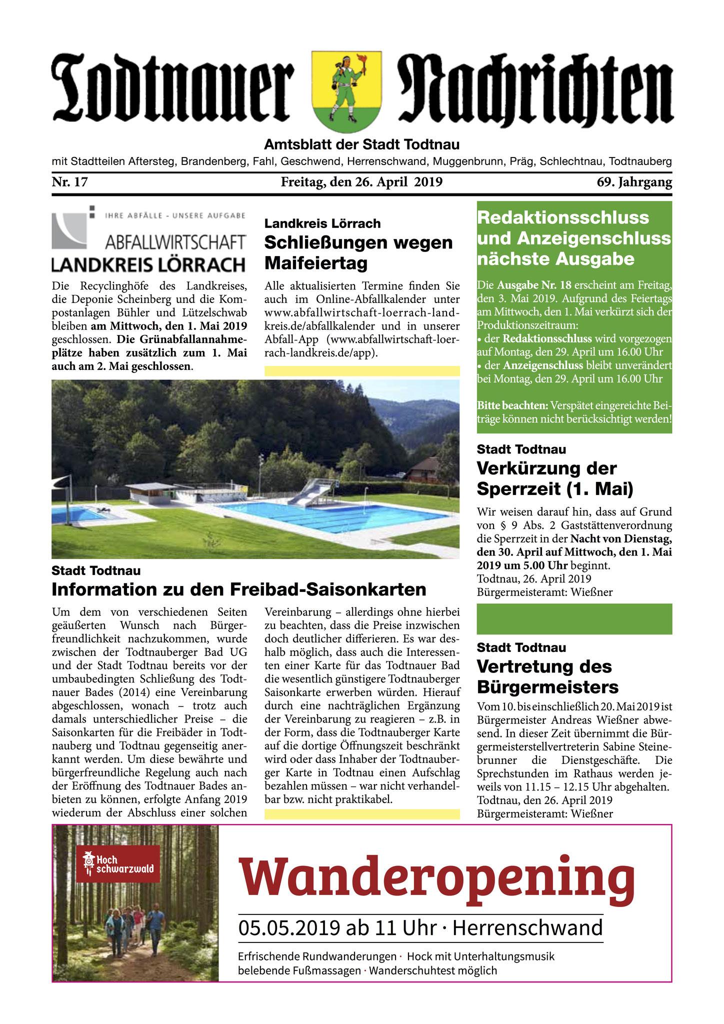 Titel Todtnauer Nachrichten, Satz, Layout, Textbearbeitung, erscheint wöchentlich