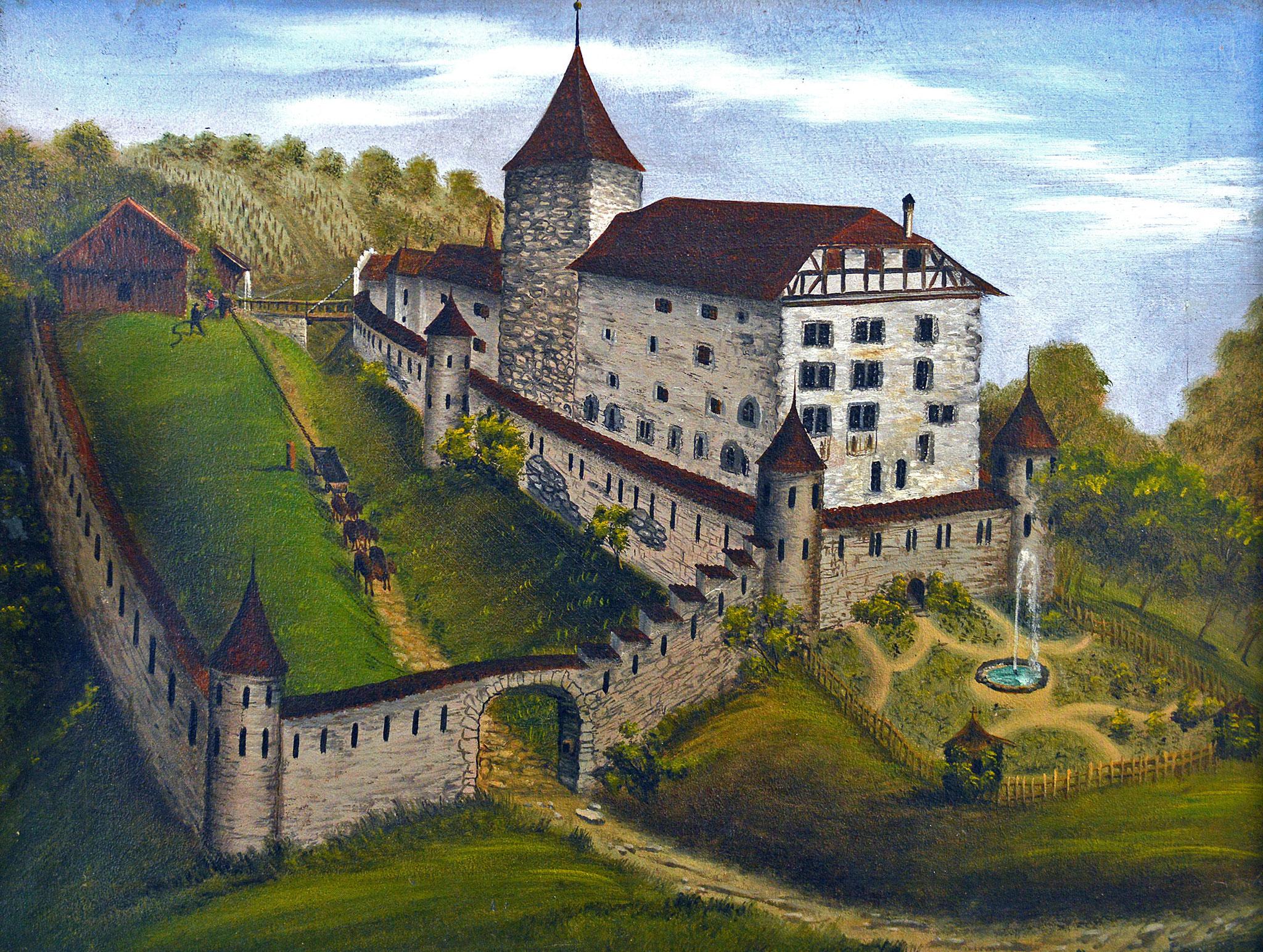 Ansicht vor 1850; gemalt ca. 1886 von R. Furter