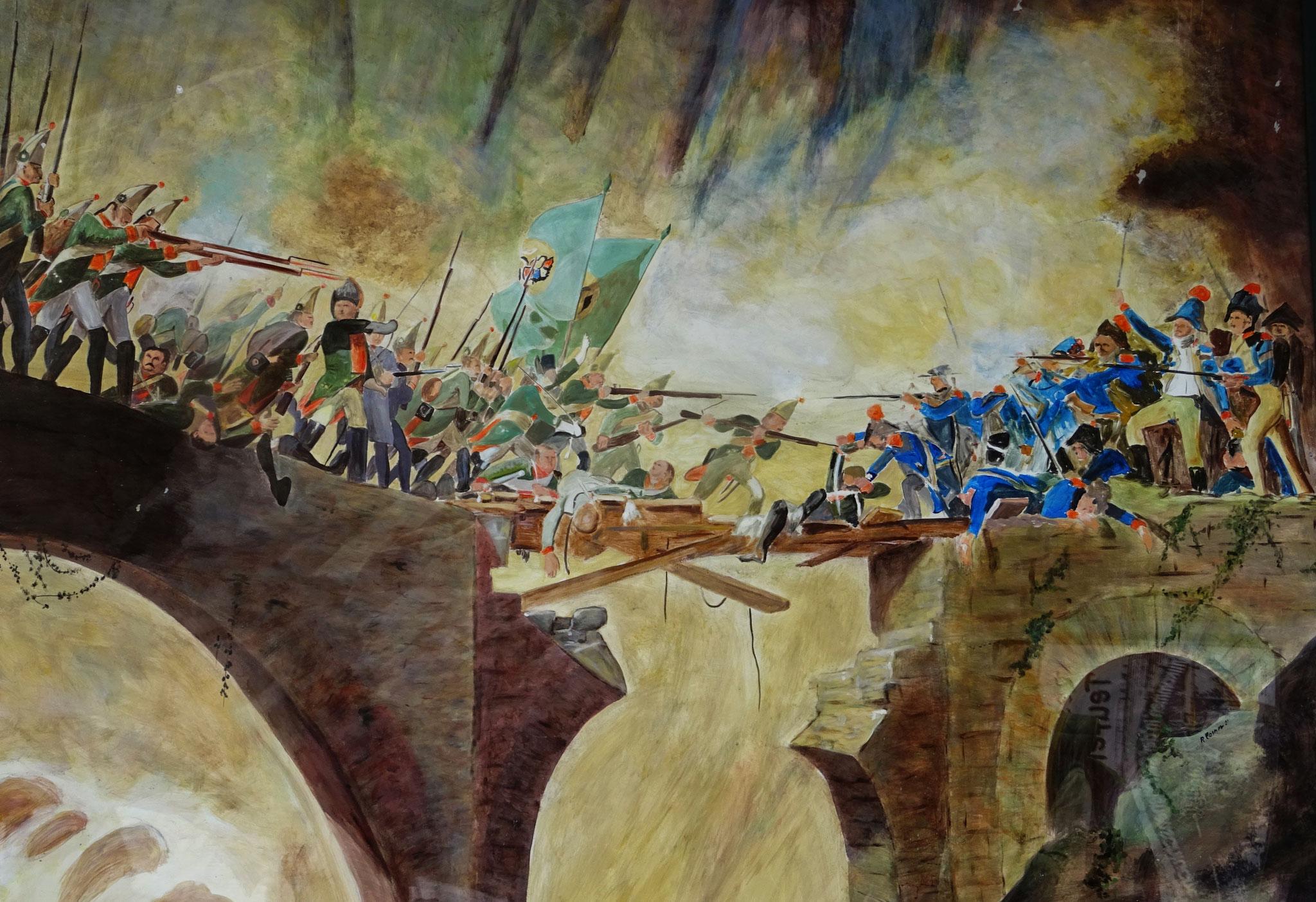 Gemälde der Schlacht von Suworow gegen die Franzosen auf der Teufelsbrücke