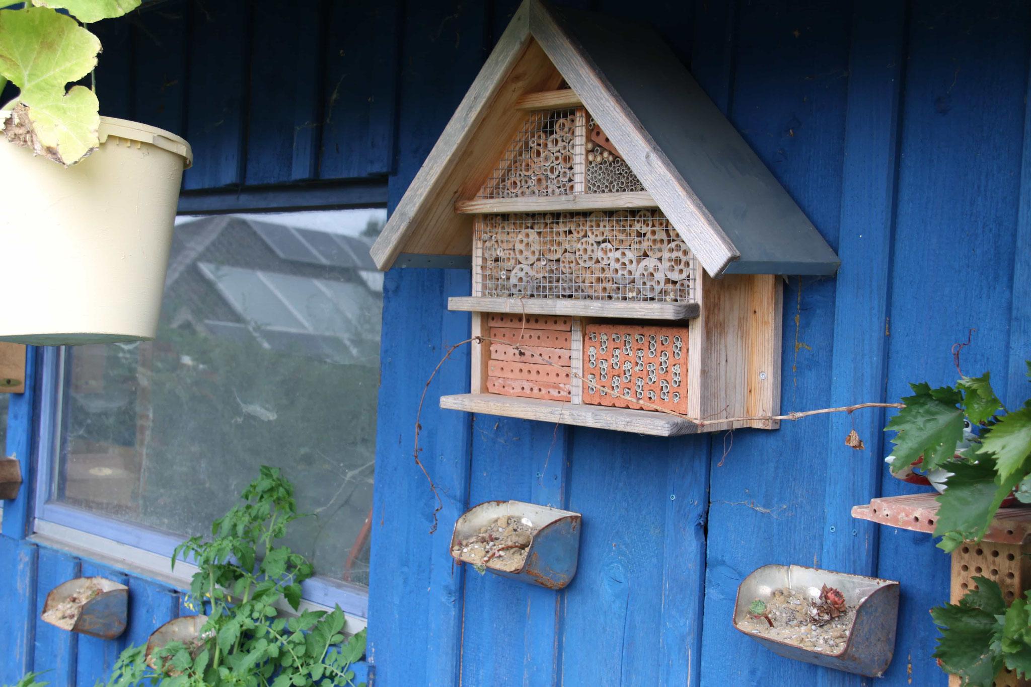 Nisthilfen am Gartenhaus/da ein Geschenk umgebaut...