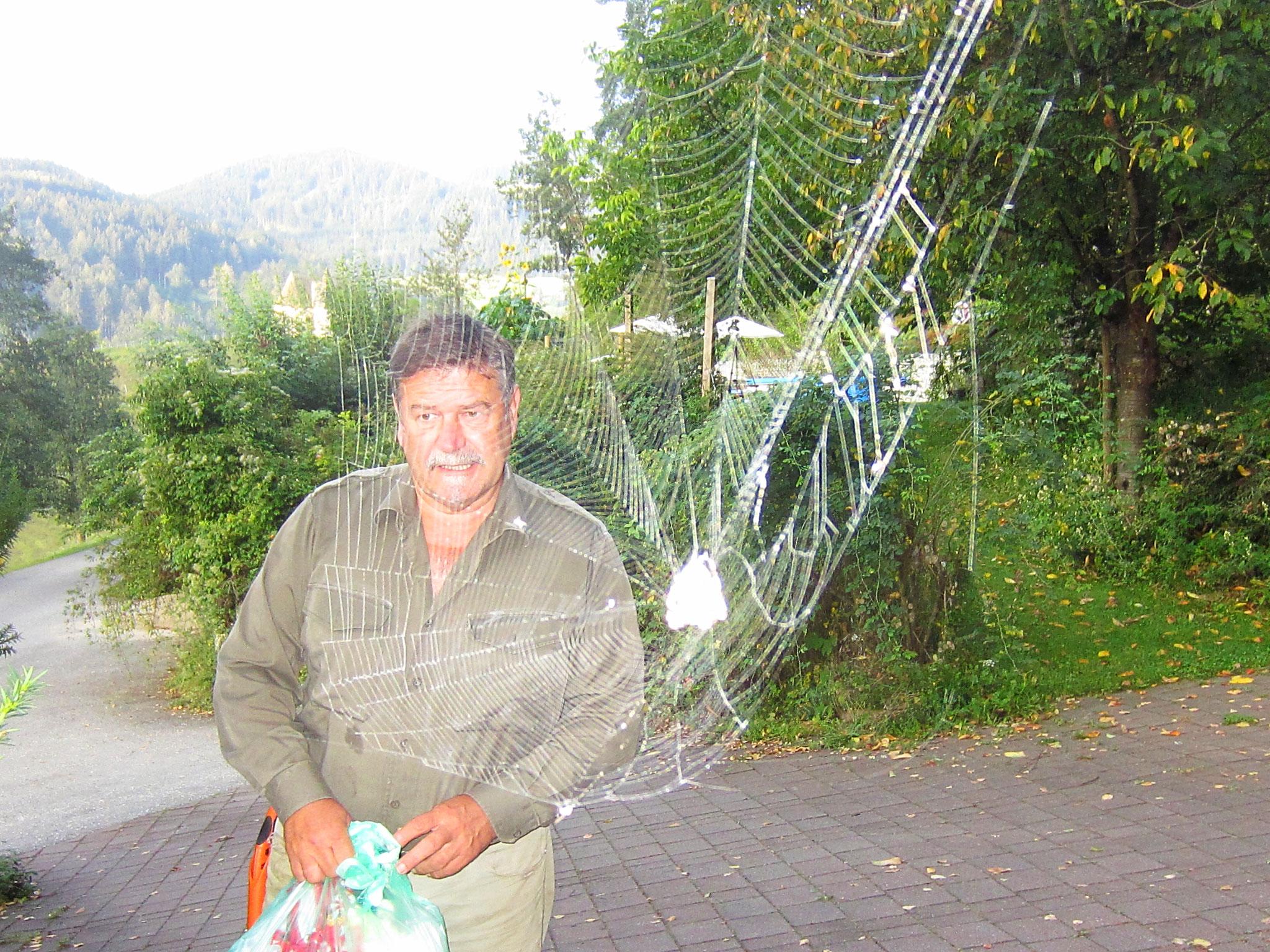 so ein großes, wunderschönes spinnennetz habe ich selten gesehen - dieses hält scheinbar meinen mann gefangen ...