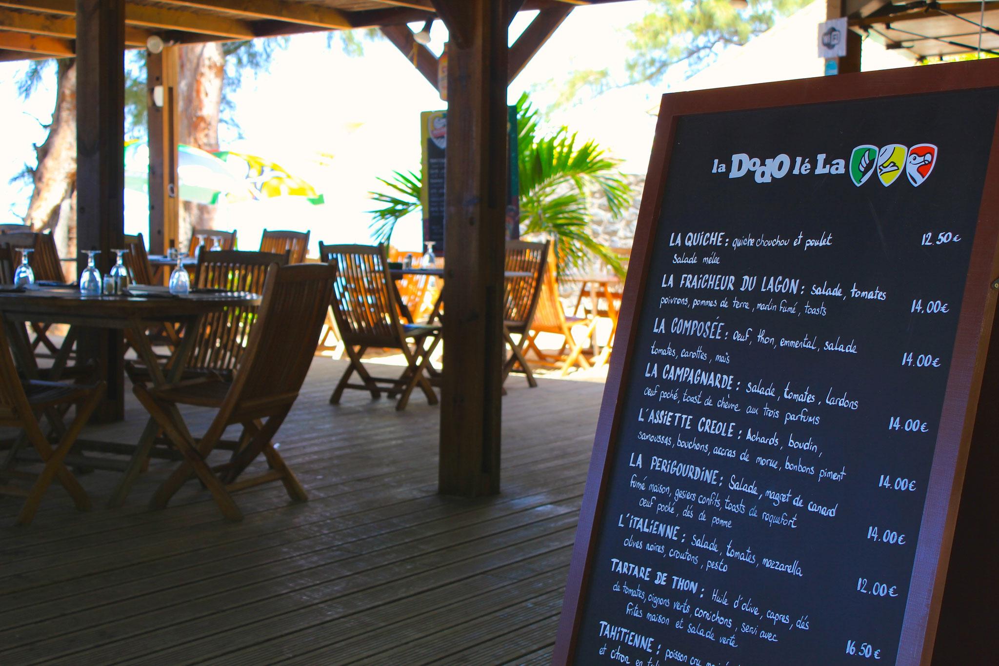 La Varangue du Lagon et son menu, vous serez accueillis par Denis