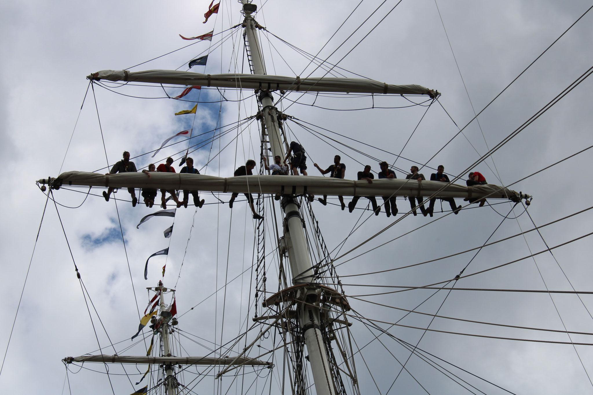 Shabab Oman II - L'équipage en haut des mâts