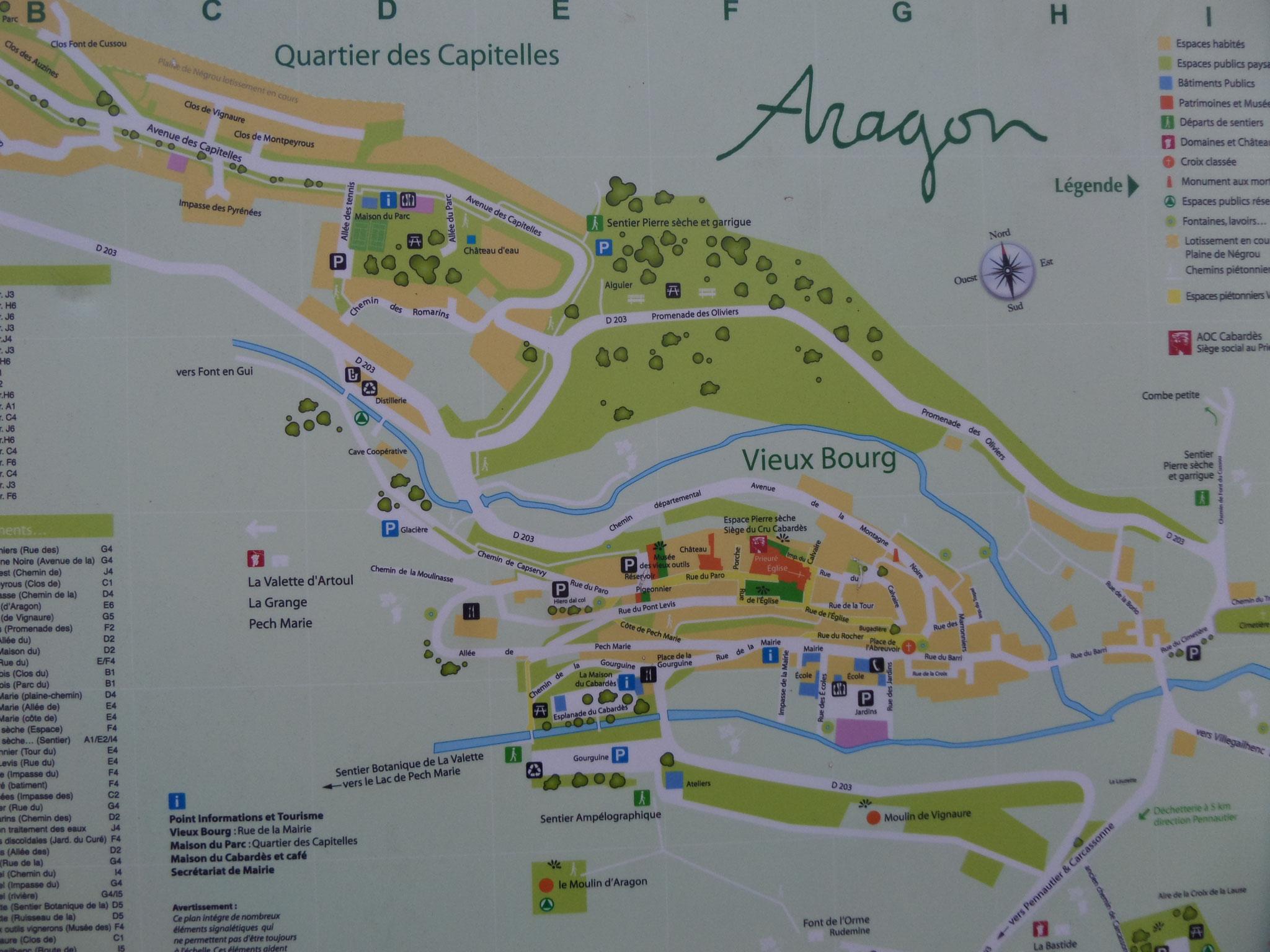 carte de localisation à l'entrée d'Aragon