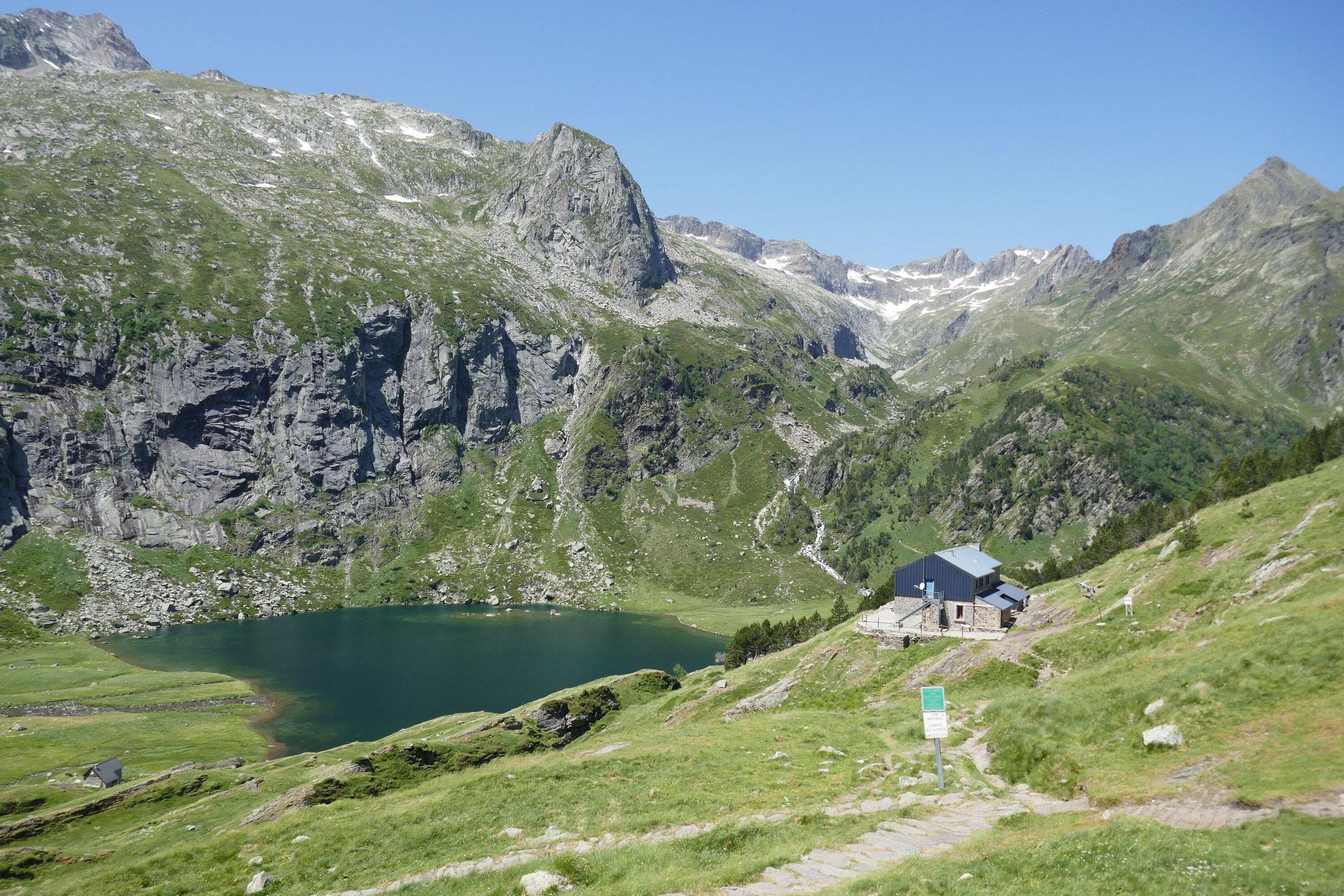 vue sur le lac depuis le haut du col d'Espingo