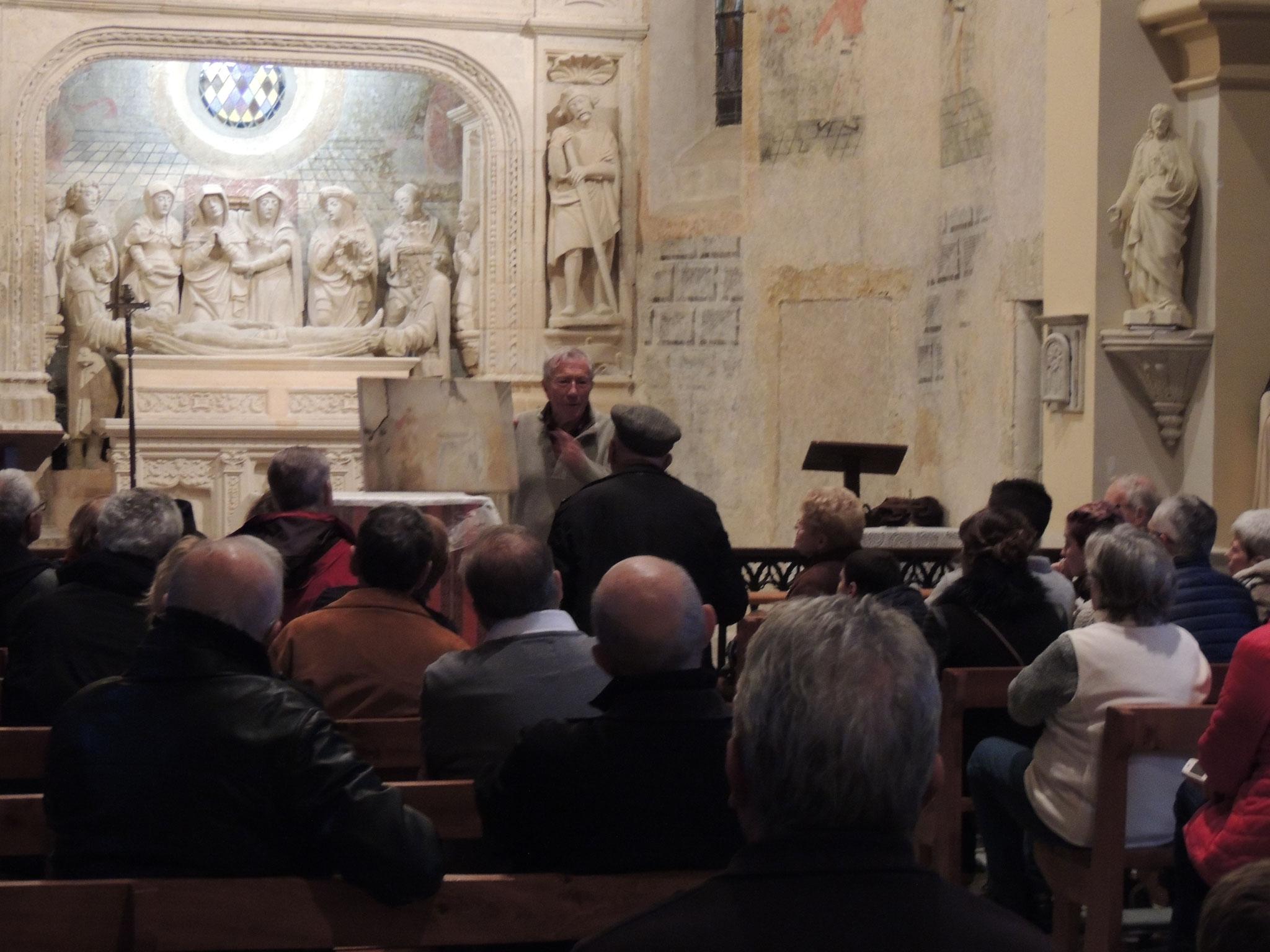 la visite guidée des 7 trésors de l'église de Ciadoux par l'historien Jacky PUJO, attire chaque année beaucoup de monde
