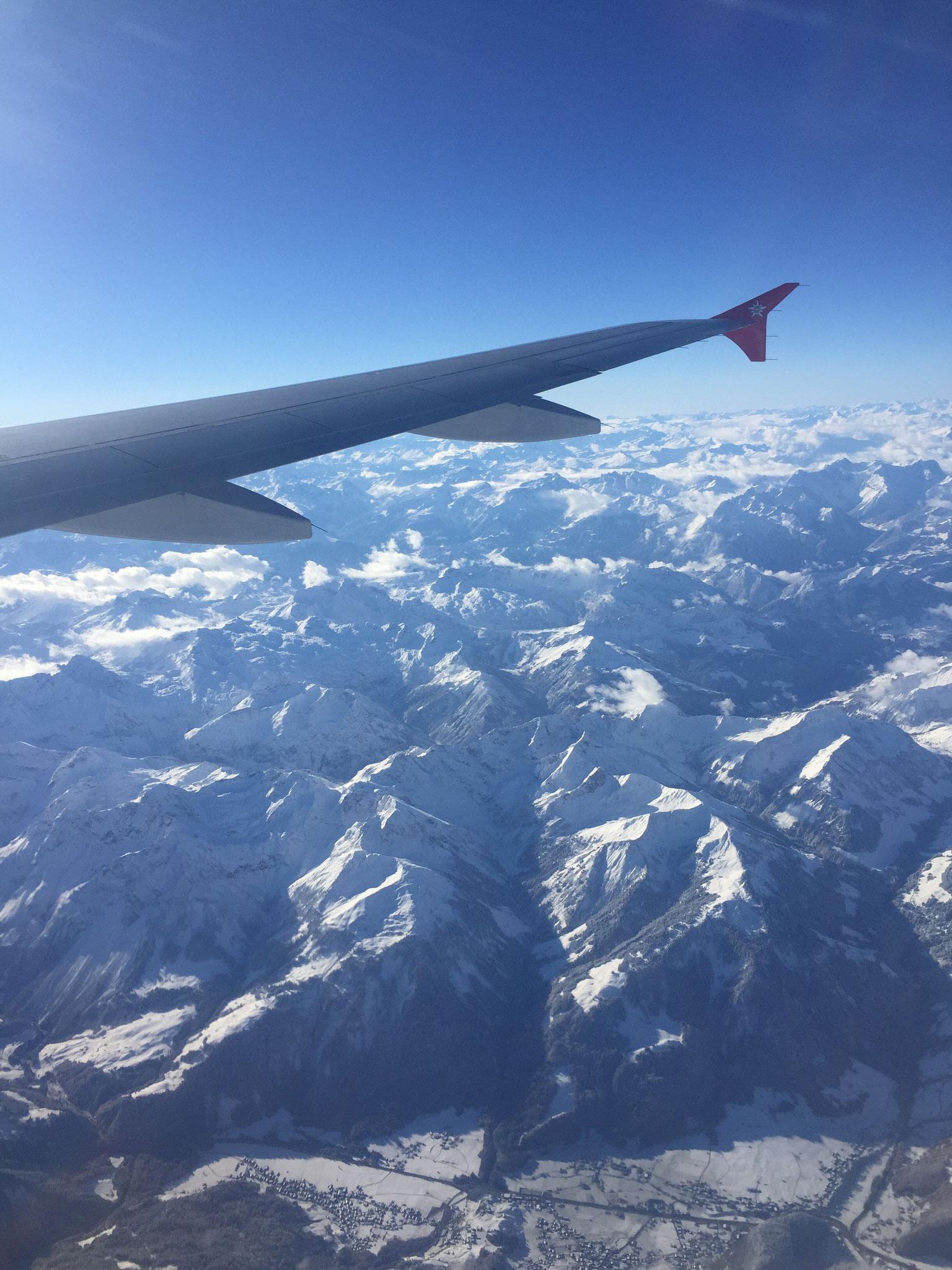 Schon auf dem Flug nach Ägypten viel Sehenswertes - Die Dolomiten