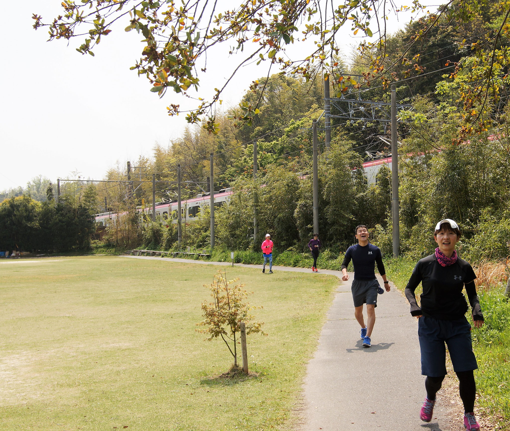 名鉄電車の脇も通ります。