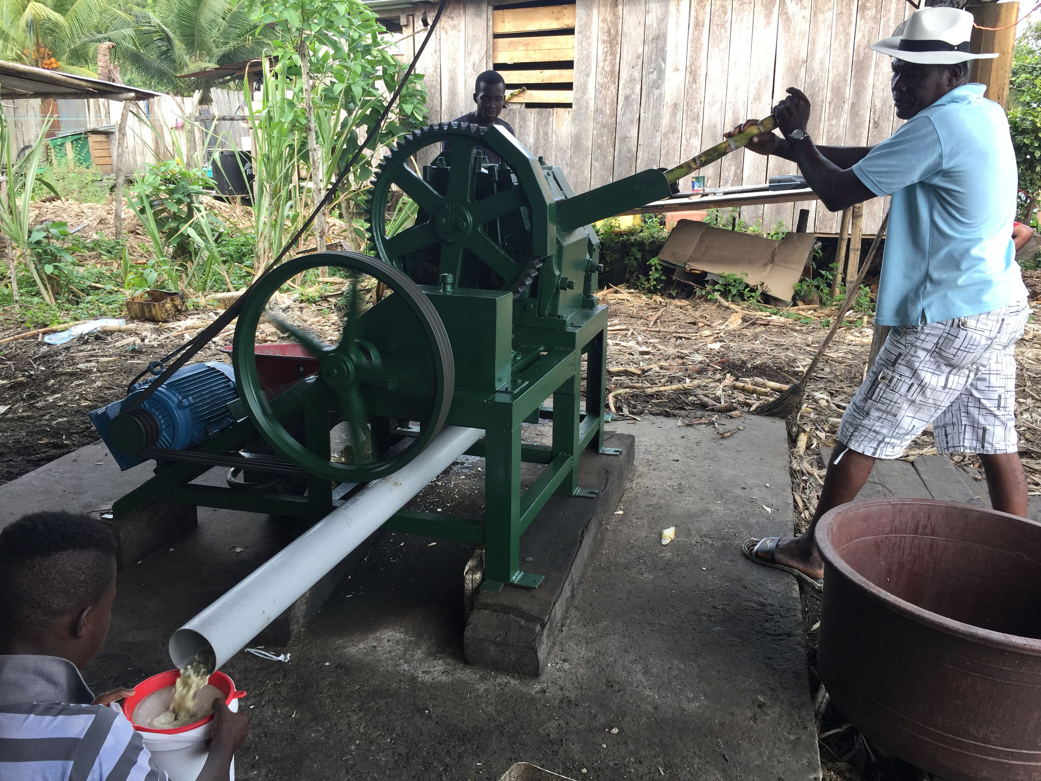 Zuckerrohr auspressen