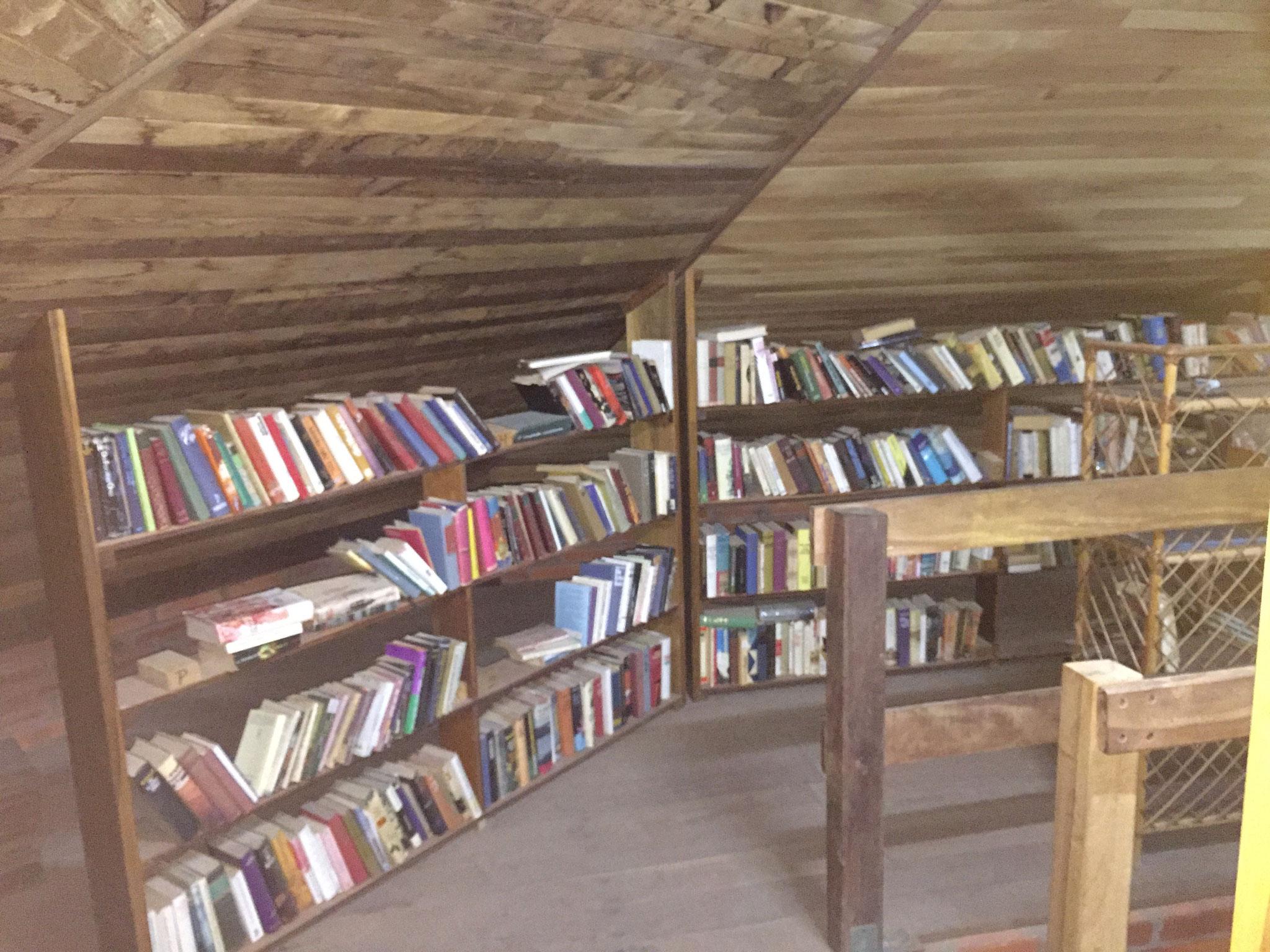 .... und Bibliothek, von den Schülern gezimmert!