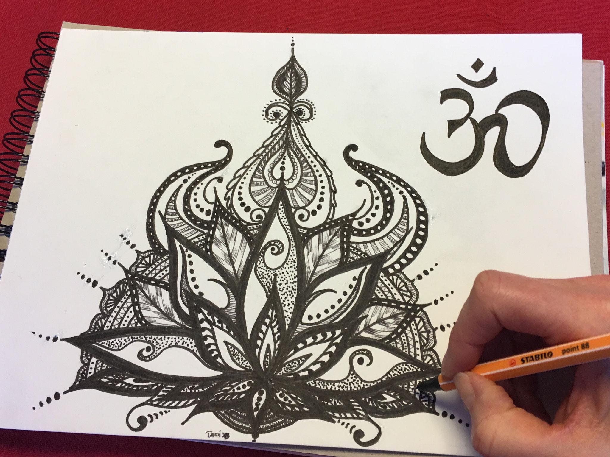 Skizze Lotus (DIN A3 / Black-Pen)