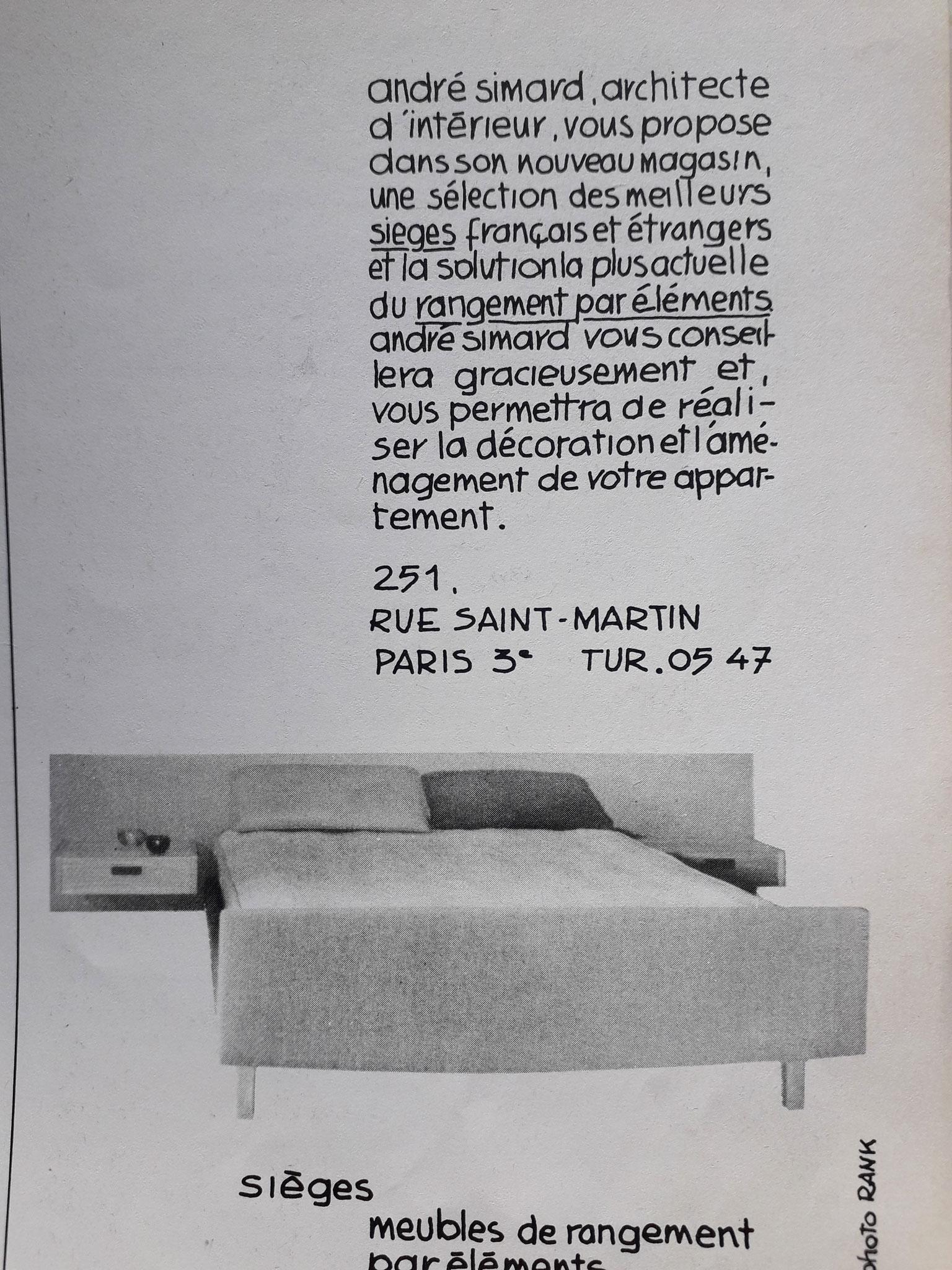 Publicité boutique André Simard, c. 1960