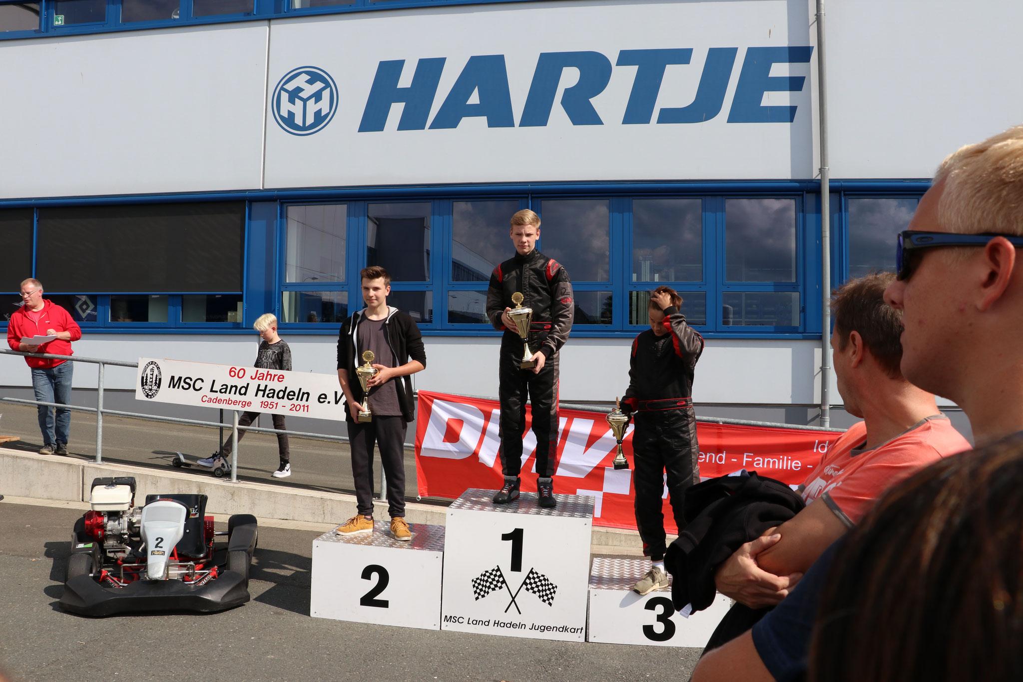 Siegerehrung der Klasse 1 mit Joel Selenski auf Platz 3 und Michel Boje auf Platz 1