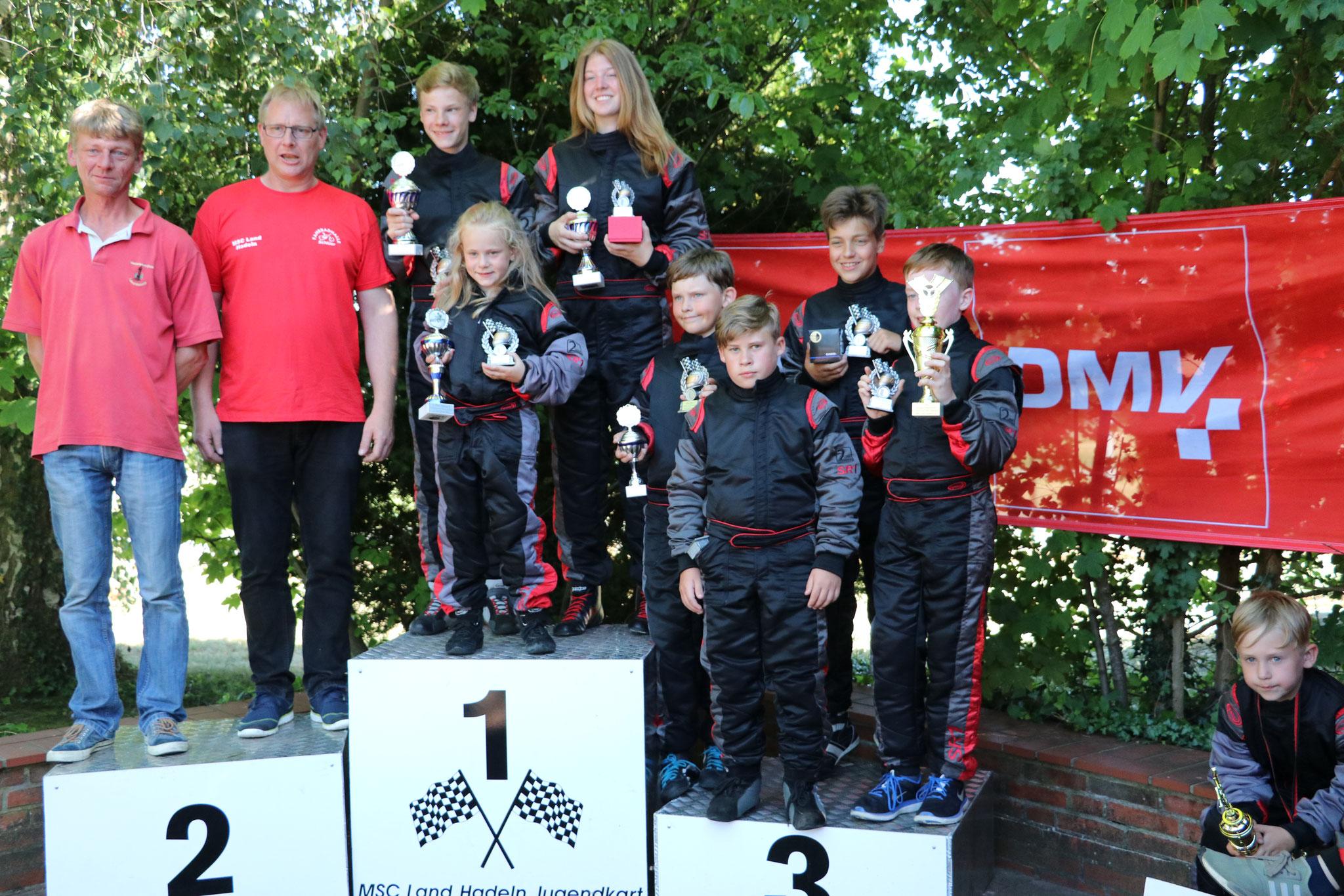 Auf dem ersten Platz stehen die Norddeutschen Meister (Einzelstarter), auf dem Dritten die Youngstars MSC Land Hadeln 1 als Norddeutscher Meister und auf dem Zweiten die Trainer