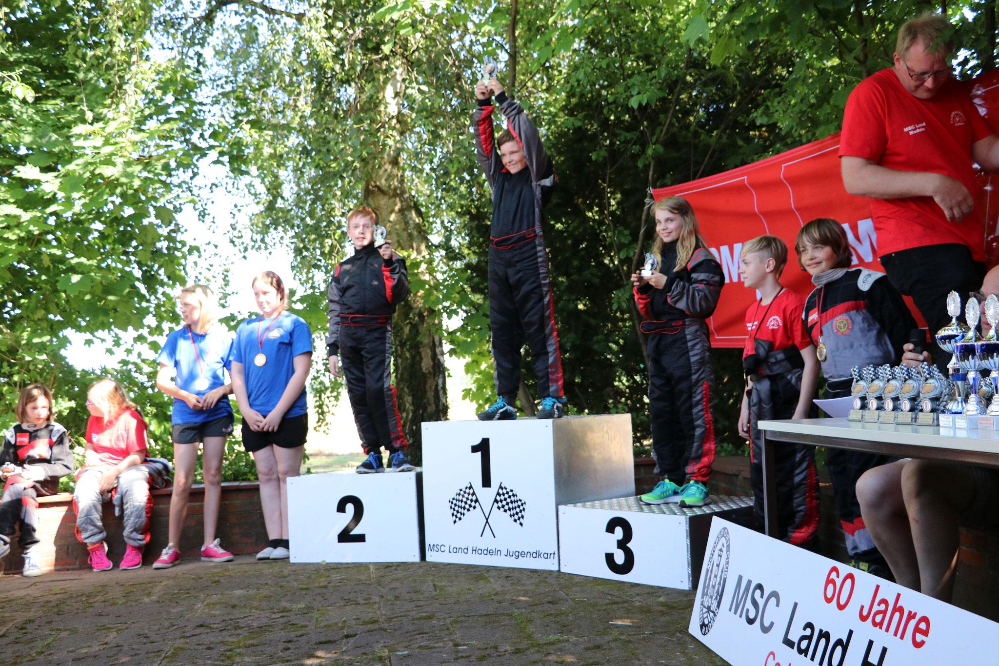 Êin Dreifachsieg in Klasse 2 für Luca Finn Hadeler (Platz 1), Justin Reimers (Platz 2) und Lena Altmann (Platz 3). Lars von Holt verpasste knapp das Treppchen