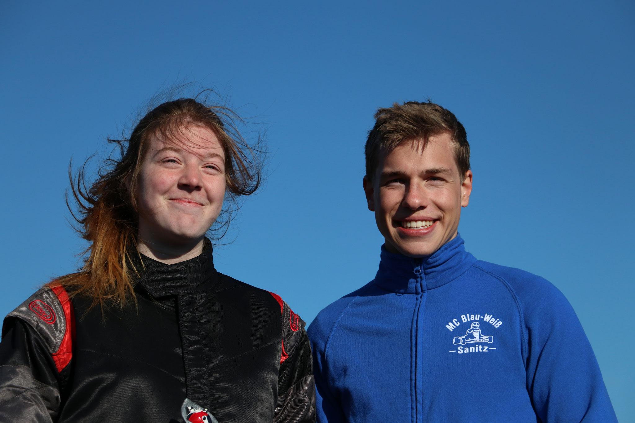 Die beiden Tagesschnellsten Meik-Leon Strohecker (MC Blau-Weiß Sanitz) und Janica Schlüer