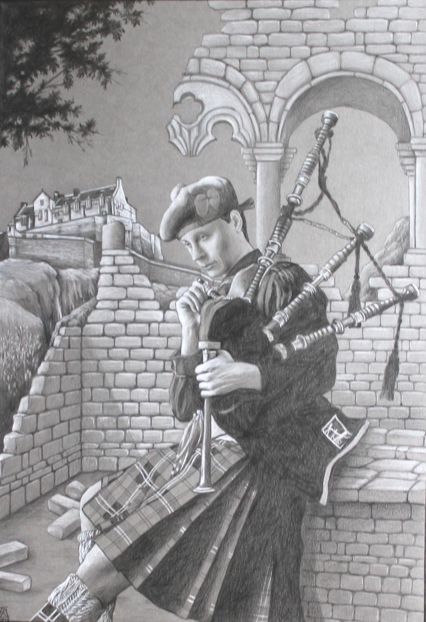 Der Stolz Schottlands, Schwarz-/Weißstift auf grauem Karton, 50 x 70 cm, 2016