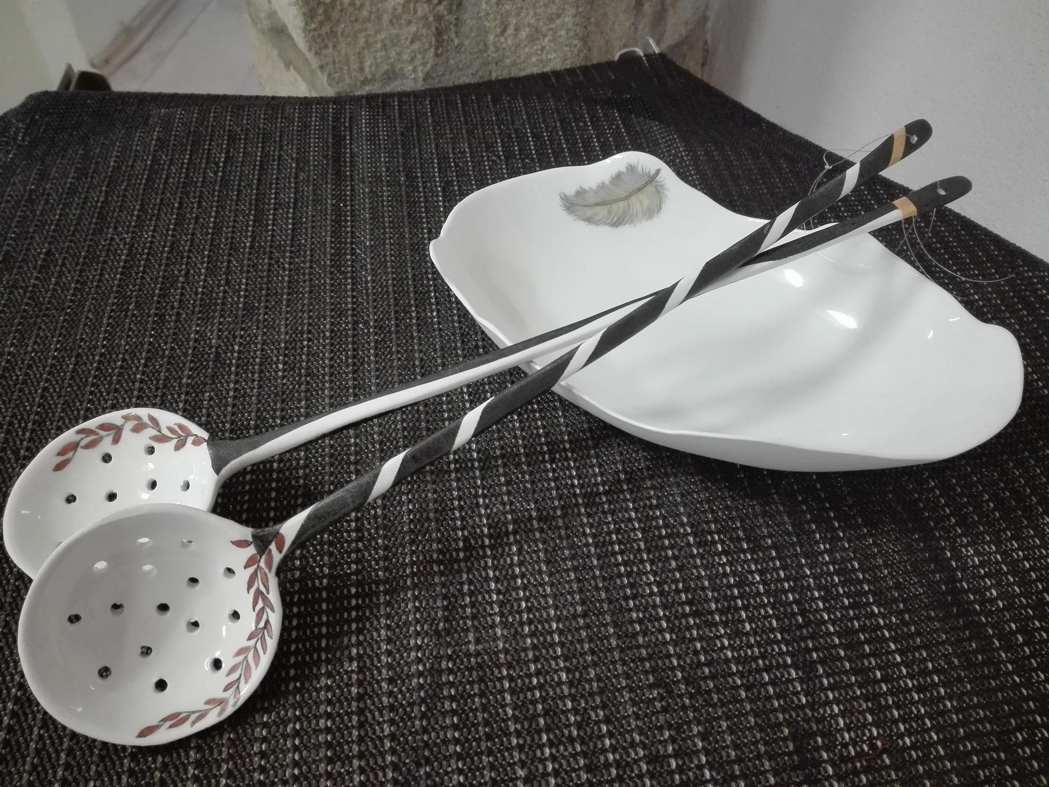 """Salatbesteck und ovale Schale, Serie """"Perfect Imperfection"""", Gestaltung auch nach Wunsch"""