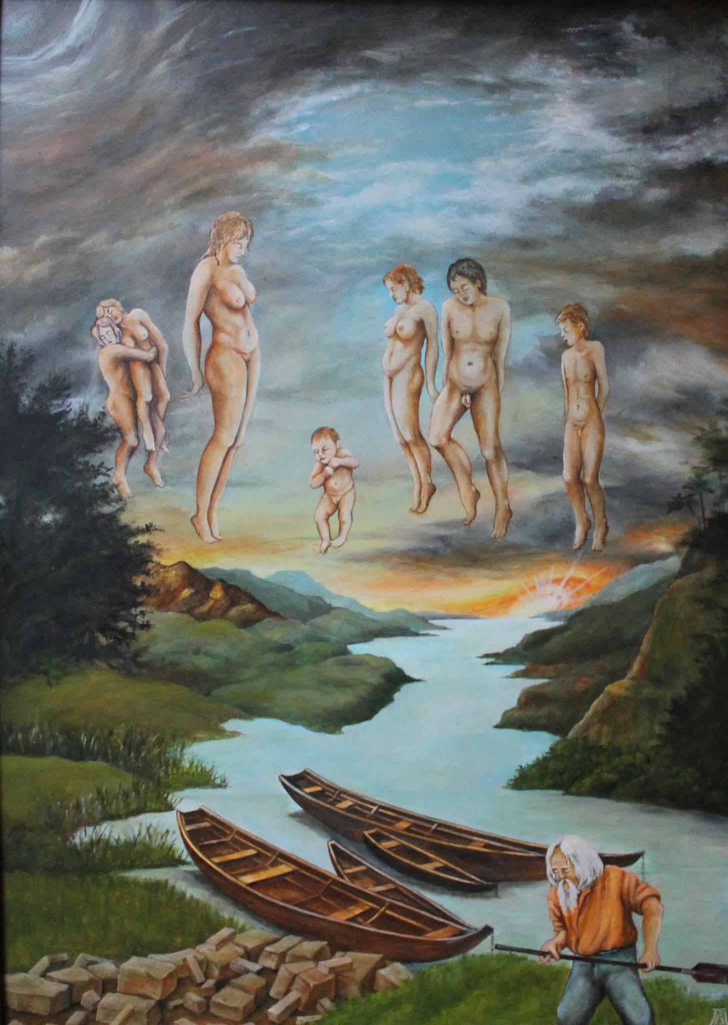 Am Styx, Acryl/Öl, 50 x 70 cm, 2020