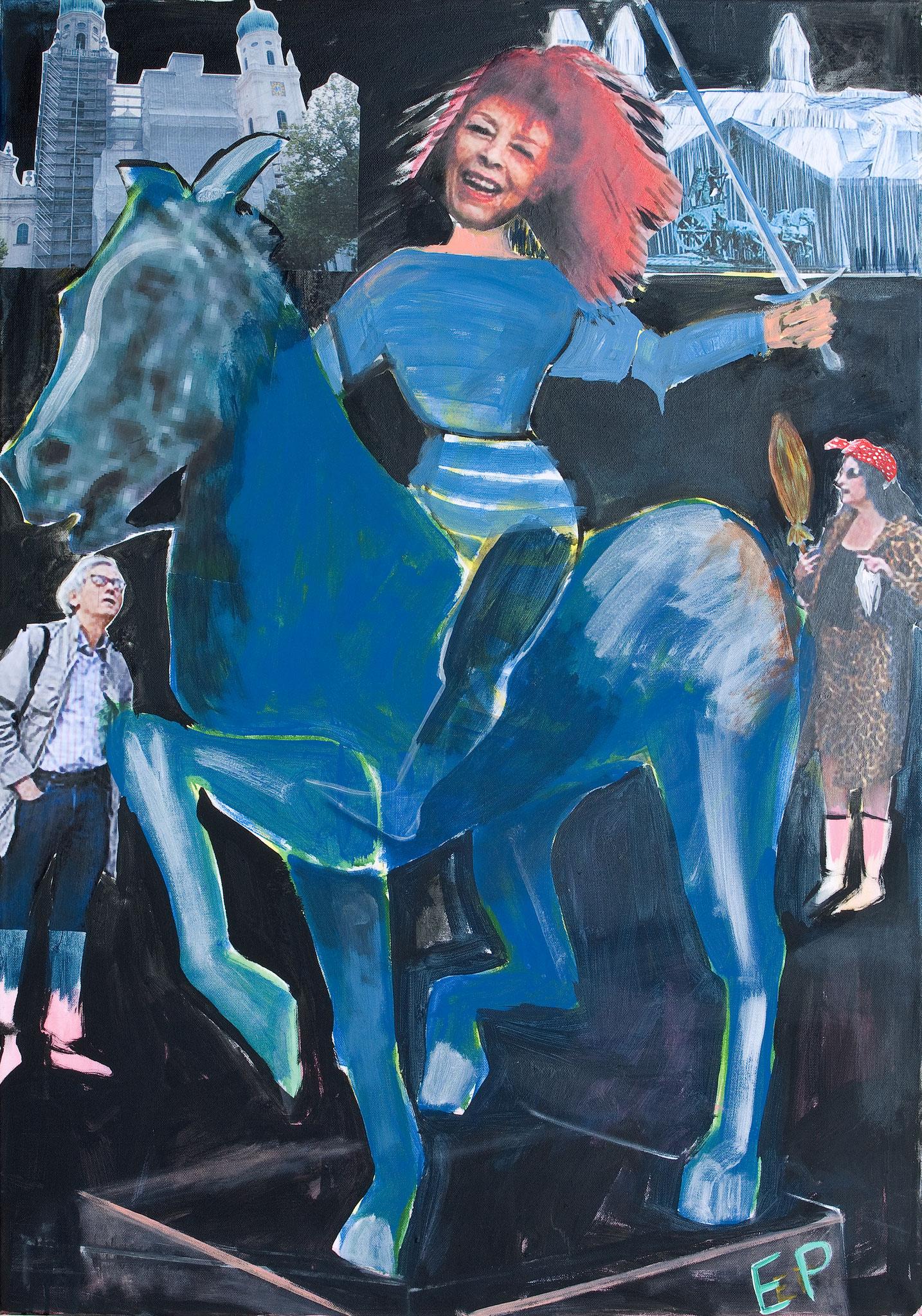 Serie Wilde Reiterinnen, Jeanne d´Arc, Malerei Collageelemente, 100 x 70 cm, 2010