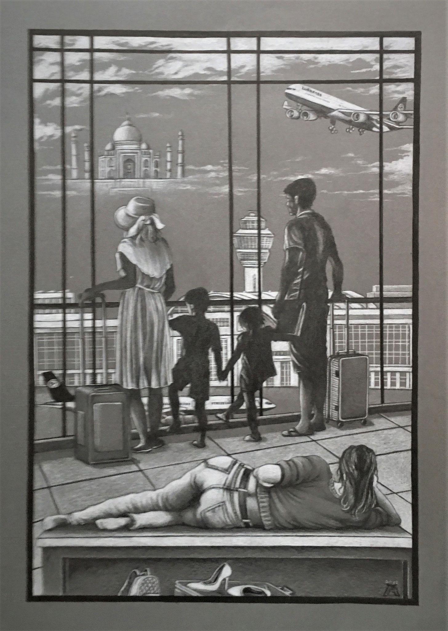 Gerard Glotz: Fata Morgana Schwarz-/Weißstift auf grauem Karton, 2020 50 x 70 cm
