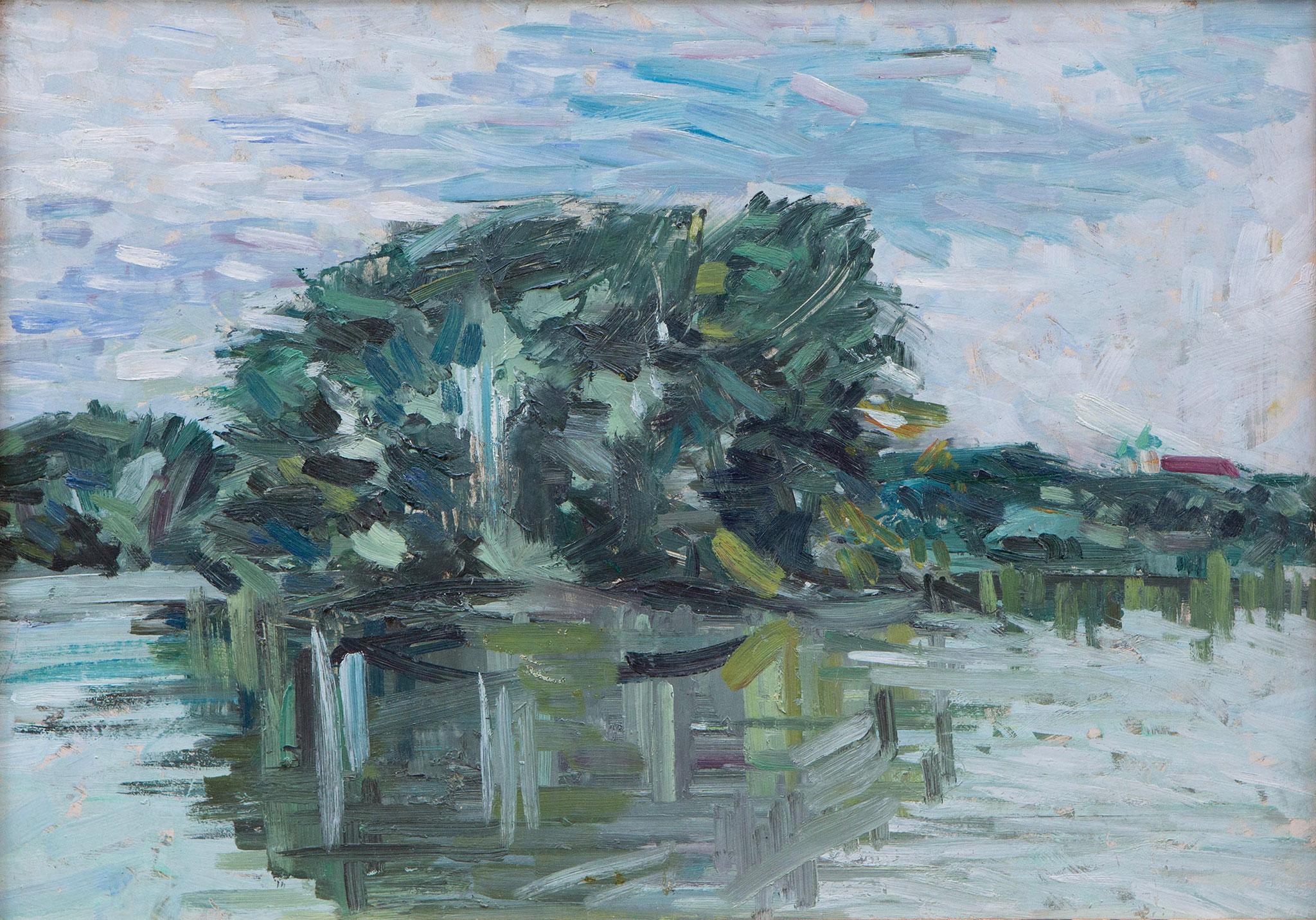 Landschaft, Öl auf Leinwand
