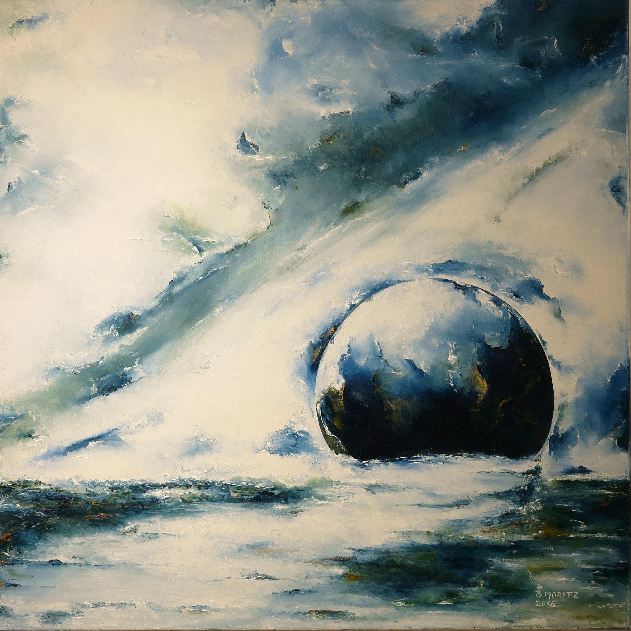 """""""Himmel und Wasser"""", Ölgemälde, Spachteltechnik, 80 x 80cm"""