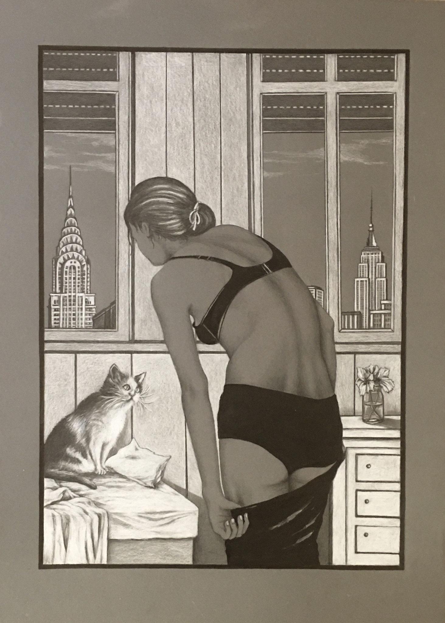 Manhattan Cat, Schwarz-/Weißstift auf grauem Karton, 50 x 70 cm, 2019