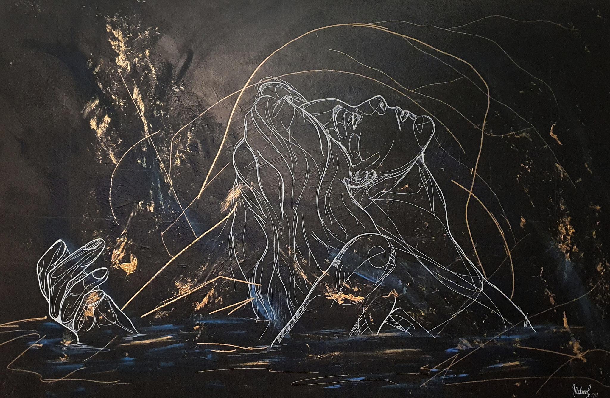 freedom, 150x100cm, 2021, Acryl und Pastellkreide auf Leinwand